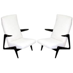 Important Pair of Belgian Mid-Century Modern Lounge Chairs by Alfred Hendrickx