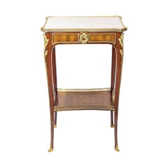 Louis XV Style Ormolu-Mounted Mahogany Marble-Top Side Table