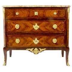 19th Century Gilt Bronze-Mounted Transition Style Commode