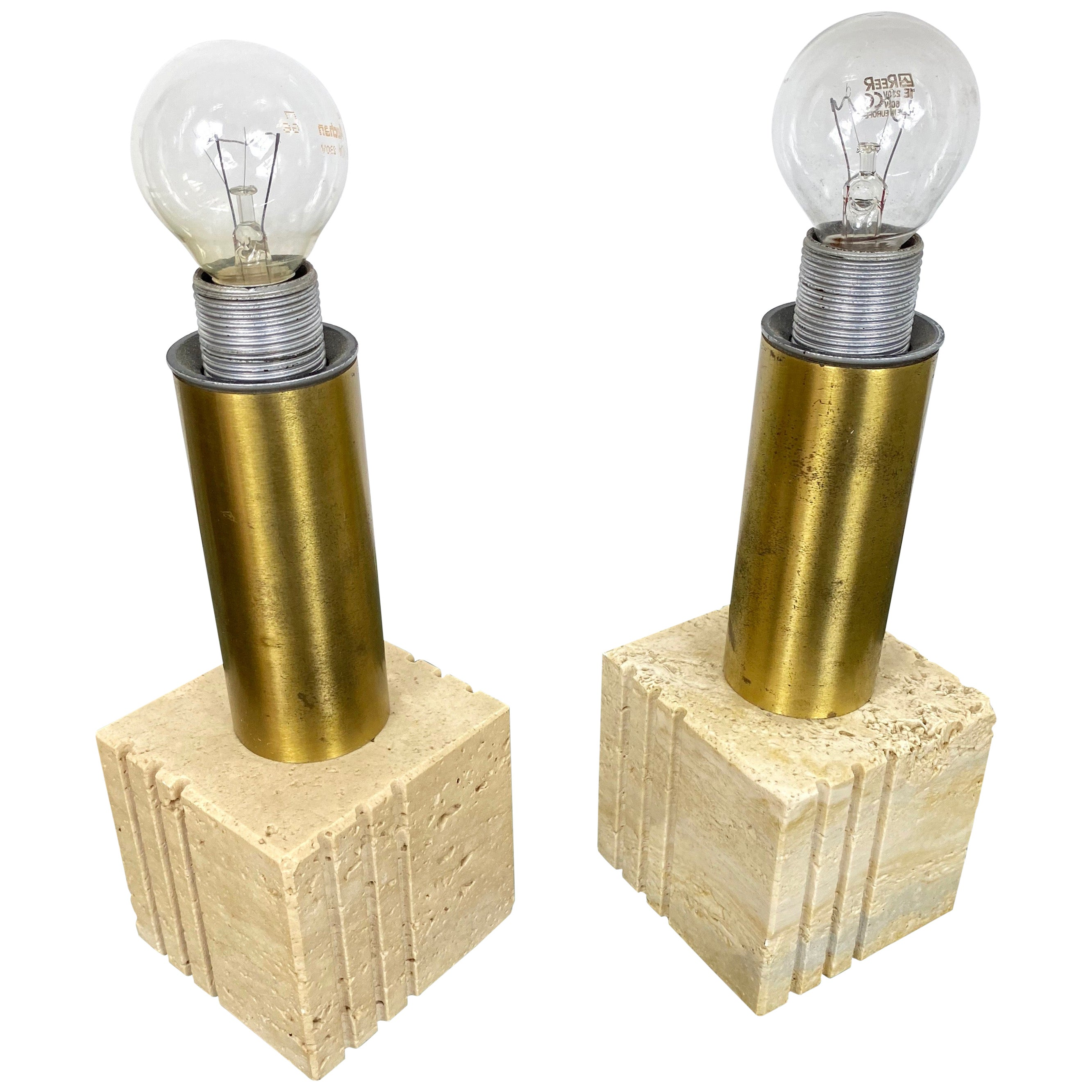 Pair of Travertine Marble and Brass Table Lamp by Fratelli Mannelli Italy 1970s