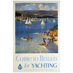 "Original Vintage Sailing Poster ""Come to Britain for Yachting"" by Arthur Burgess"
