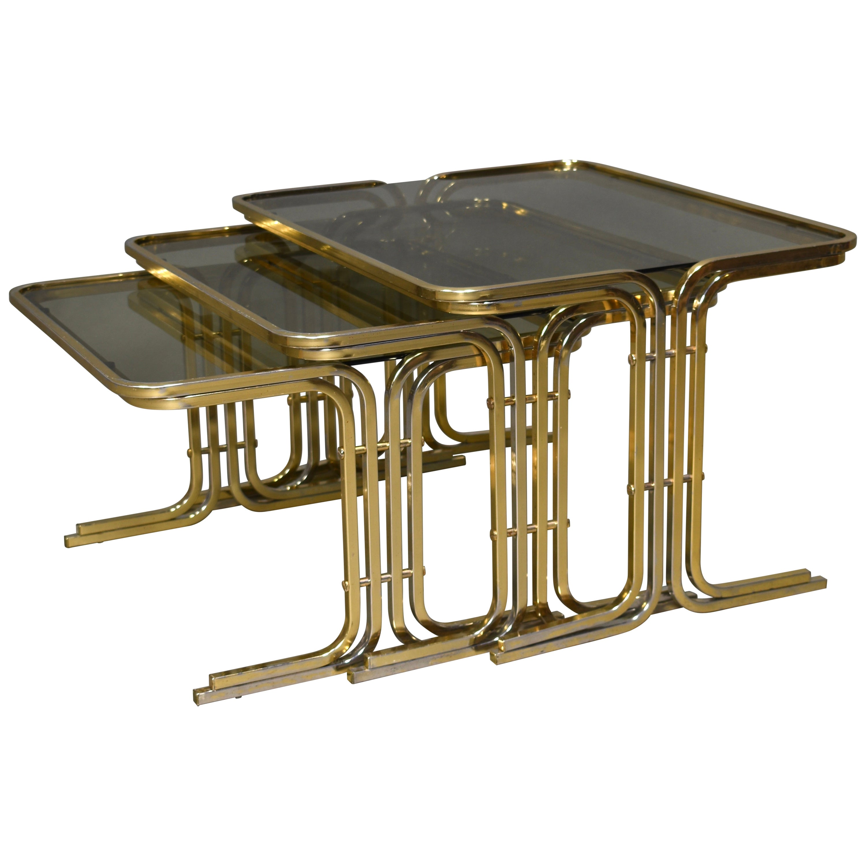 Italian 1970s Nesting Tables Gold / Smoked Glass, Italy, circa 1970