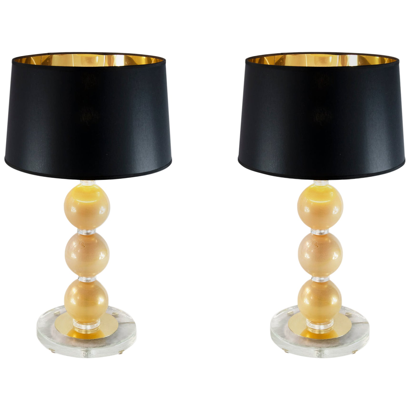 Pair of Italian Table Lamps with Murano Glass