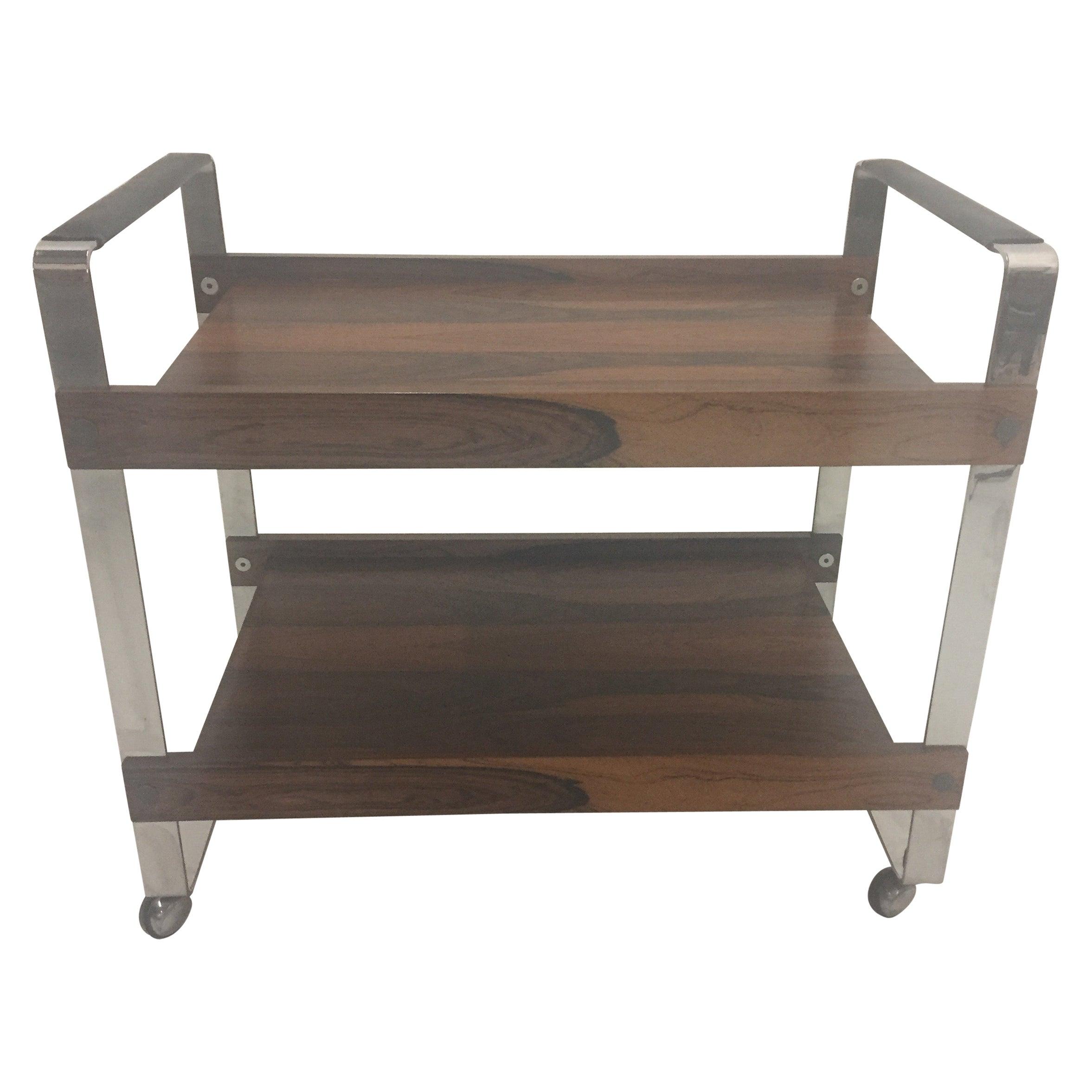 Sleek Rosewood and Chrome Mid-Century Modern Bar Cart