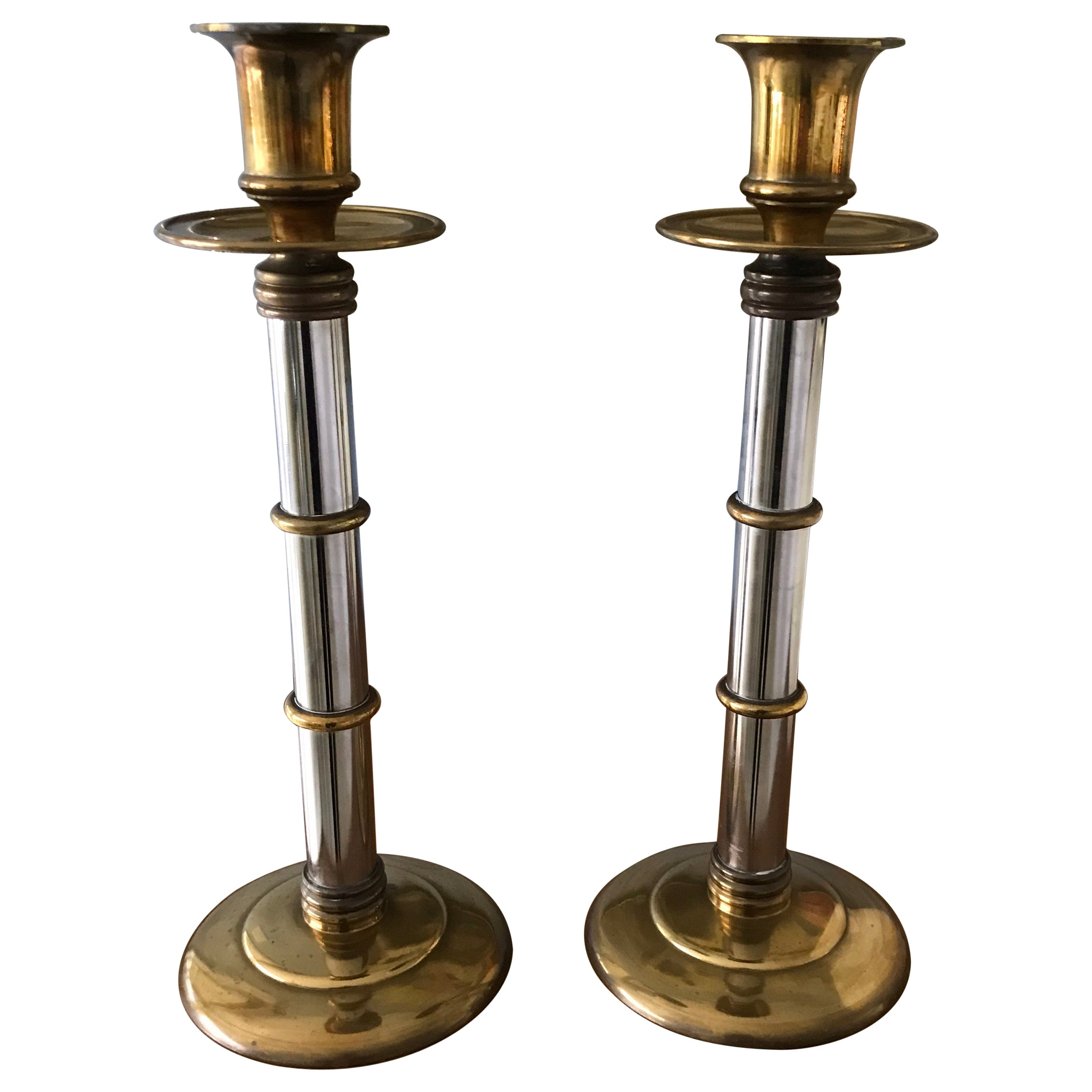 Maitland Smith Brass and Silver Tall Candlesticks