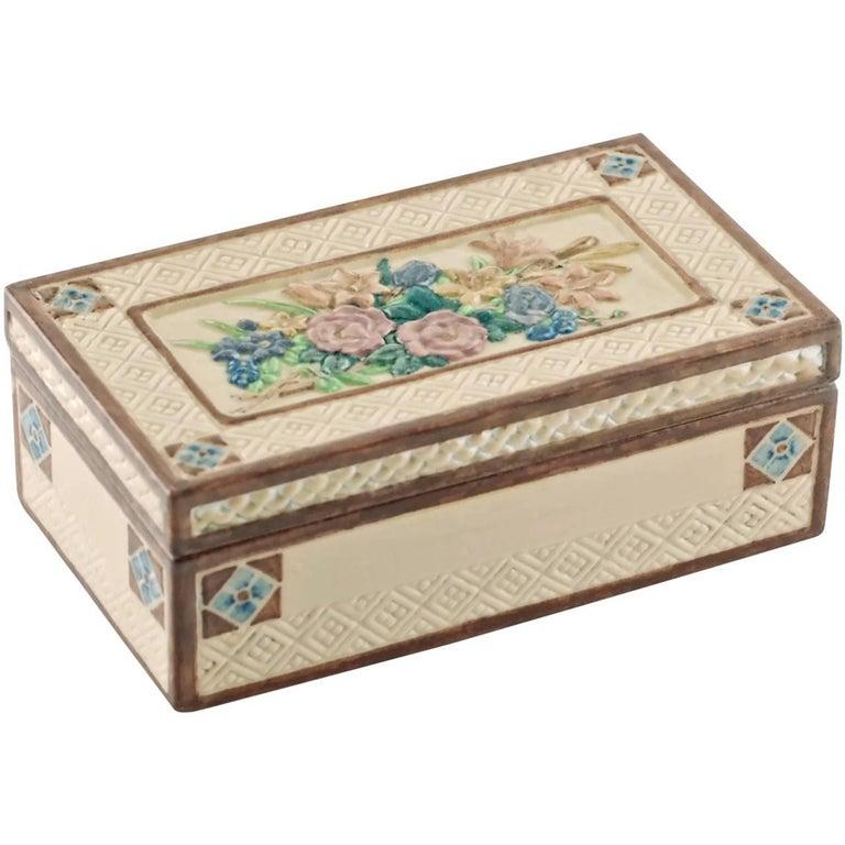 Signed Sara Sax Rookwood Pottery Lidded Rectangular Box For Sale