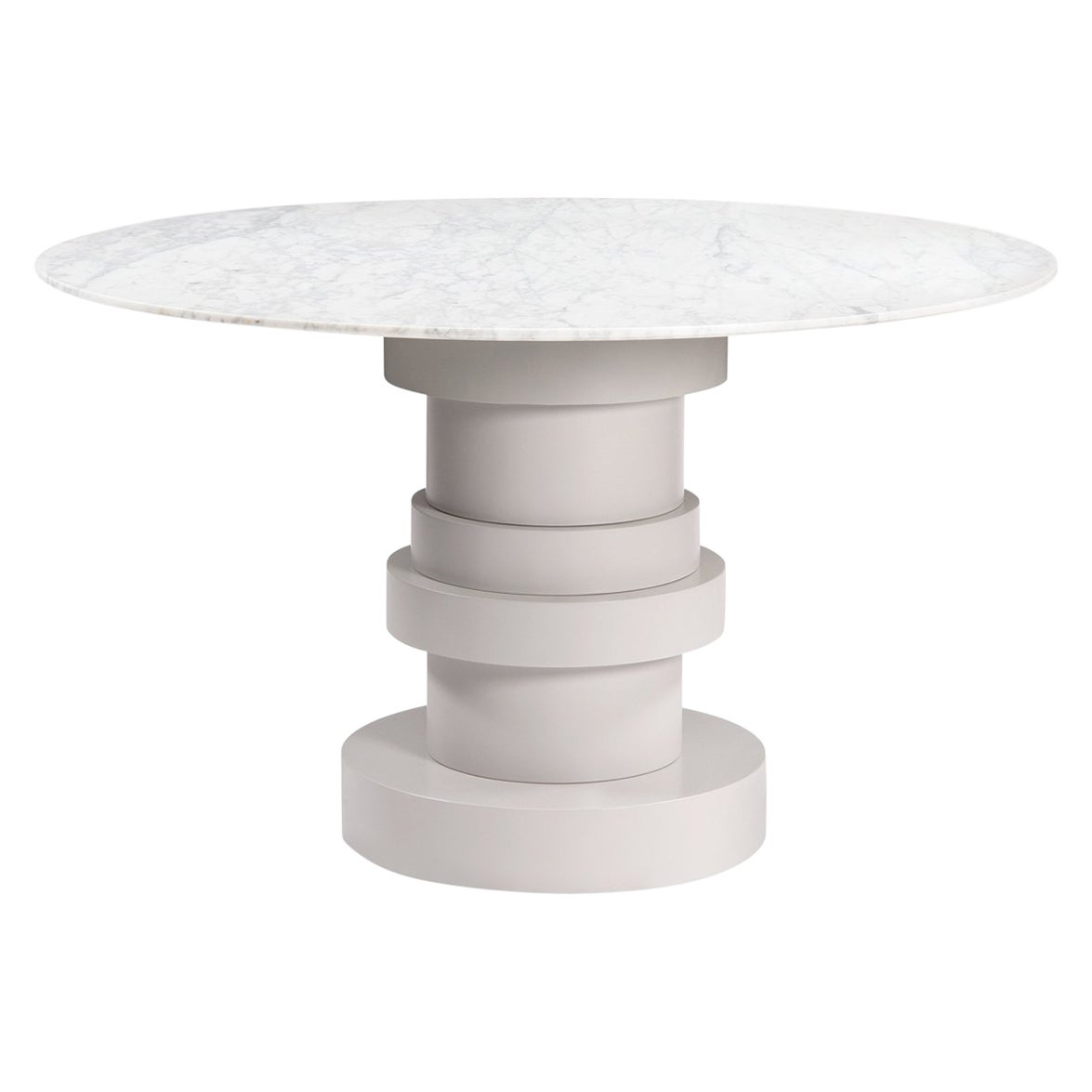 Round White Carrara Top Dining Table with Stacked Geometric Pedestal Base