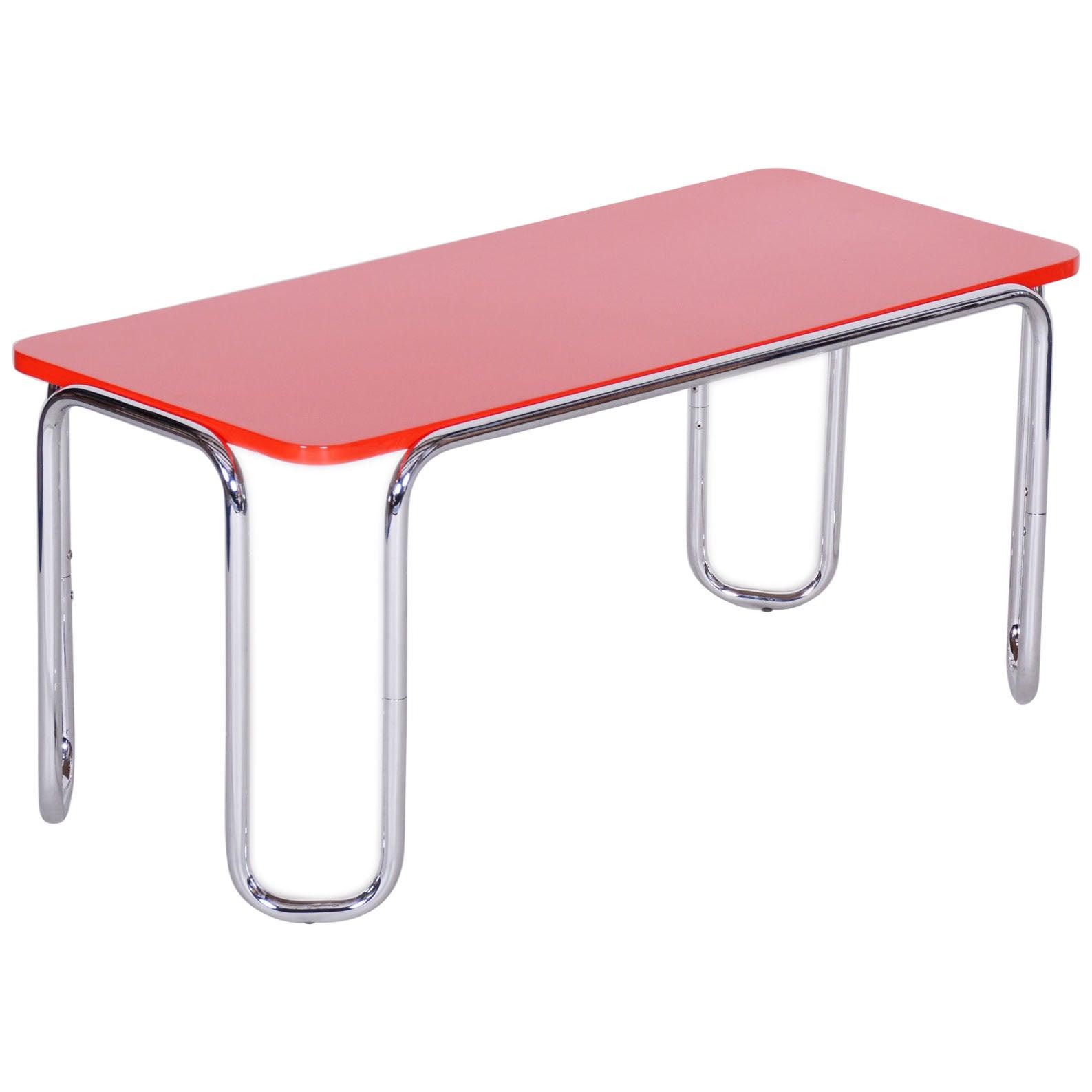 20th Century Small Red Czech Chrome Bauhaus Table by Kovona, 1950s