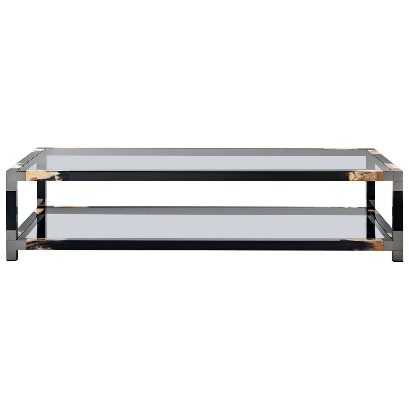Alcamo Coffee Table in Lacquered Wood with Corno Italiano Inlays, Mod. 2304