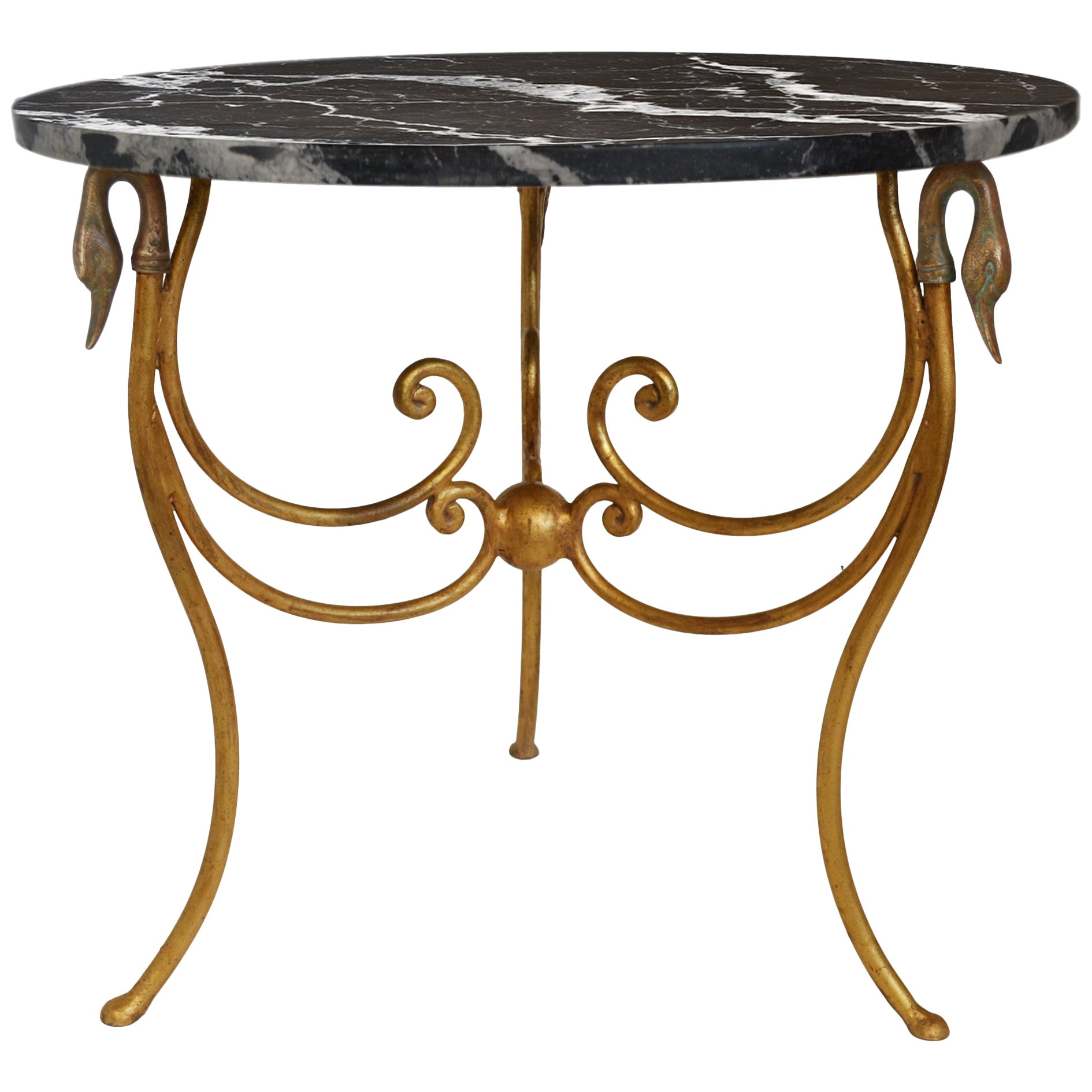 Black Side Table Black Marble-Top Iron Base Gold Leaf Finish handmade in Italy