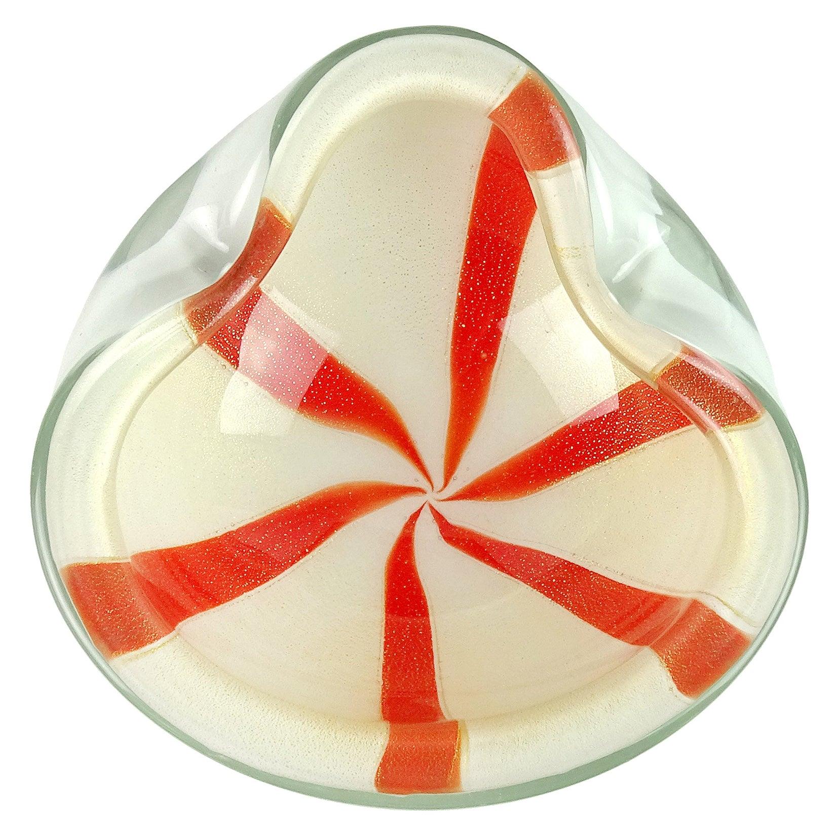 Alfredo Barbini Murano Orange White Gold Fleck Italian Art Glass Decorative Bowl