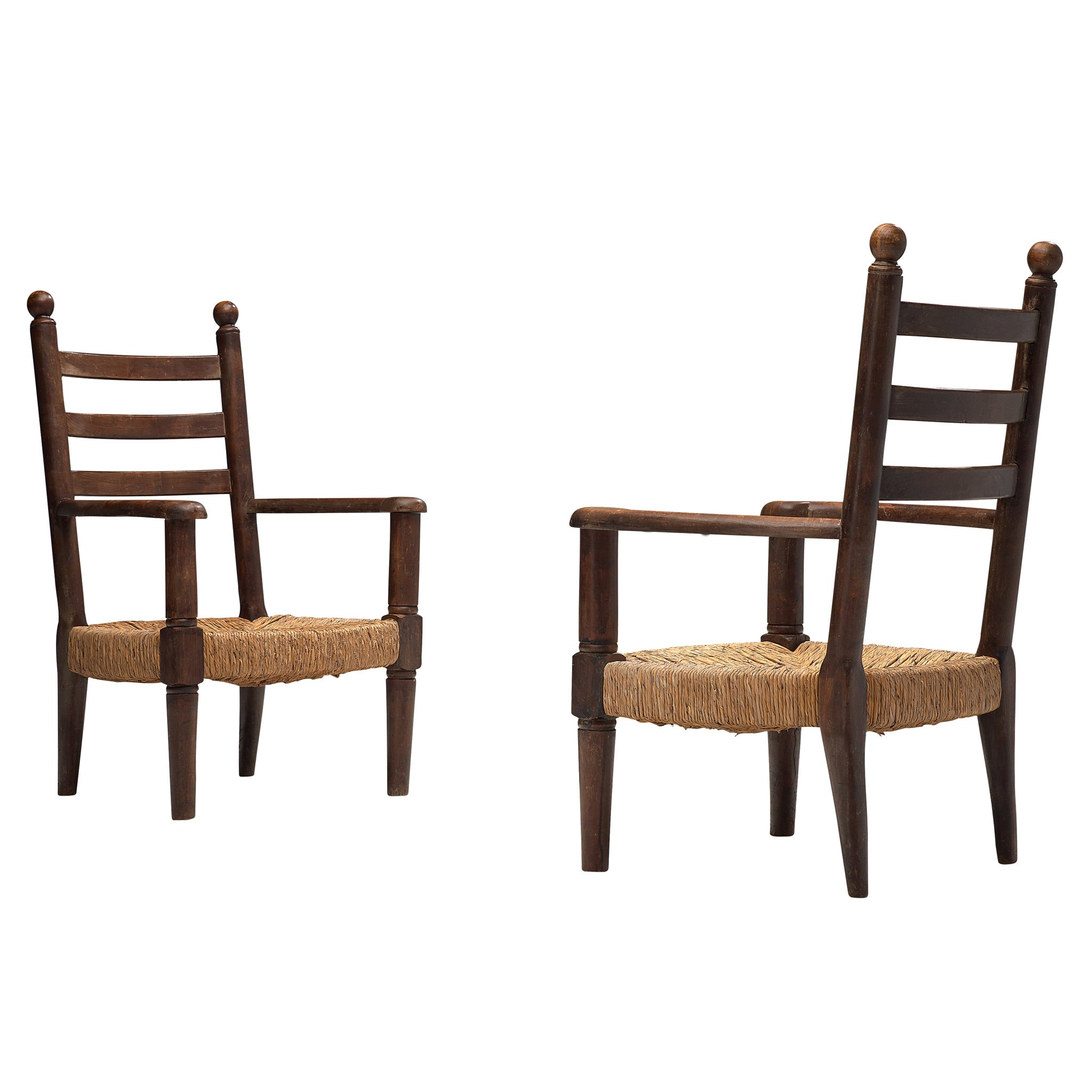 French Armchairs with Cane Seats, 1950s
