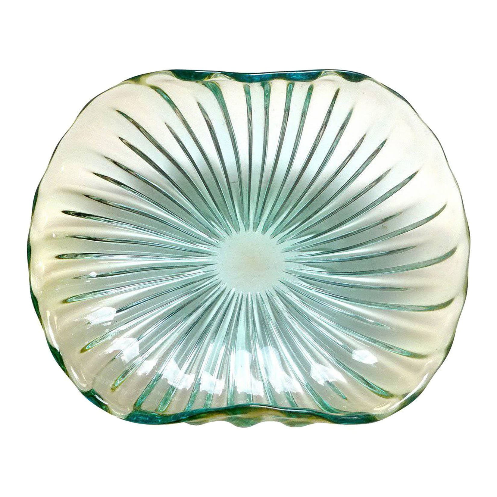 Alfredo Barbini Murano Sommerso Ribbed Body Italian Art Glass Centerpiece Bowl