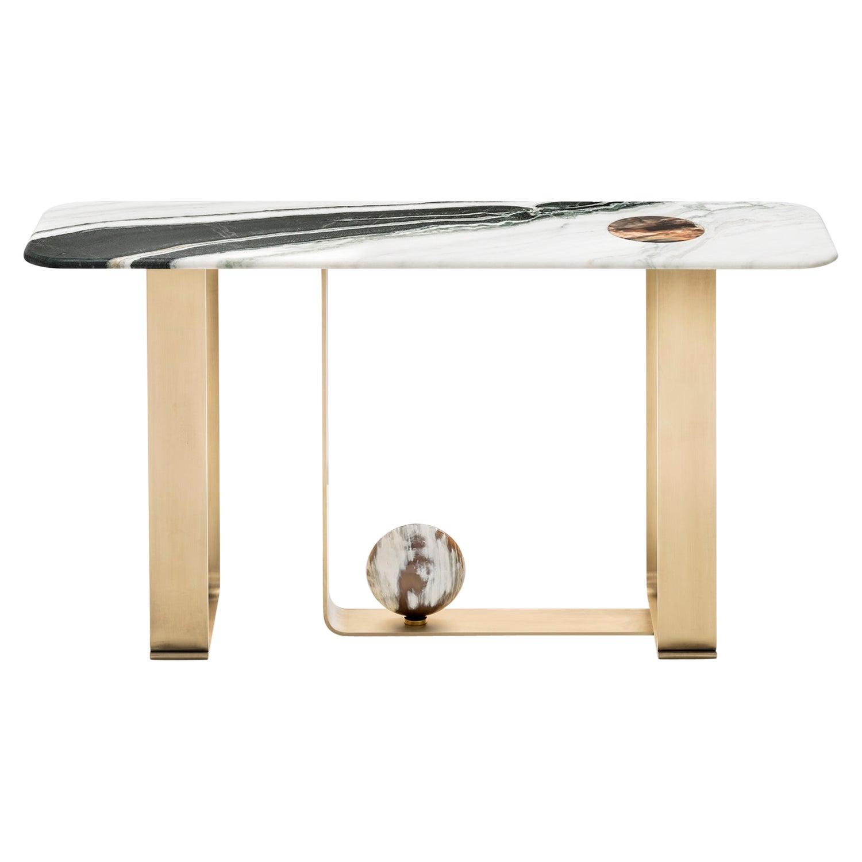 Minerva Console Table in Marble with Corno Italiano Accents, Mod. 7005S