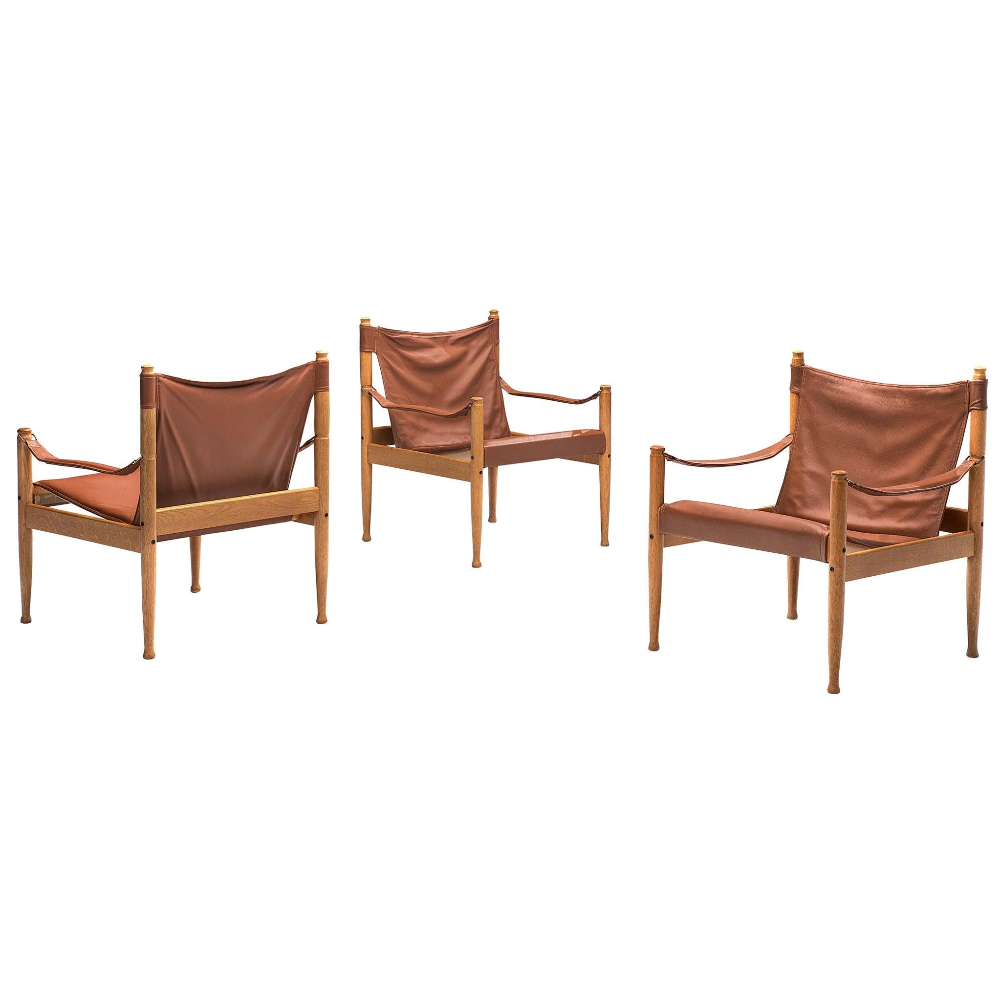 Erik Wørts Safari Chairs in Cognac Leather, 1960s