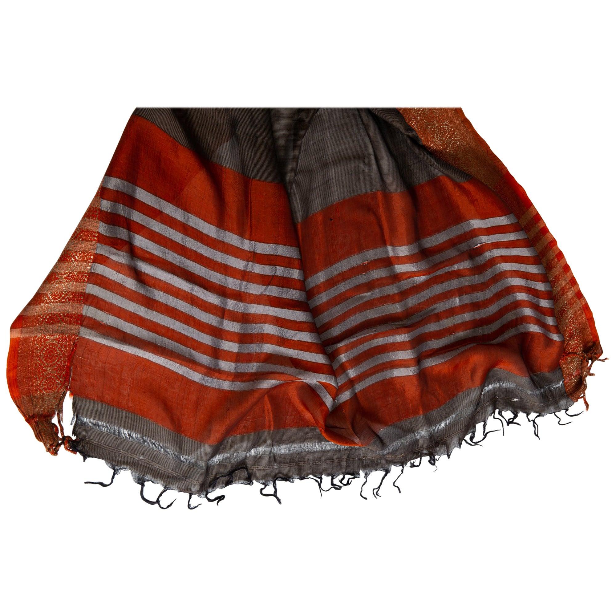 Vintage Indian Sari Brown Color, Brik Red and Gold Border