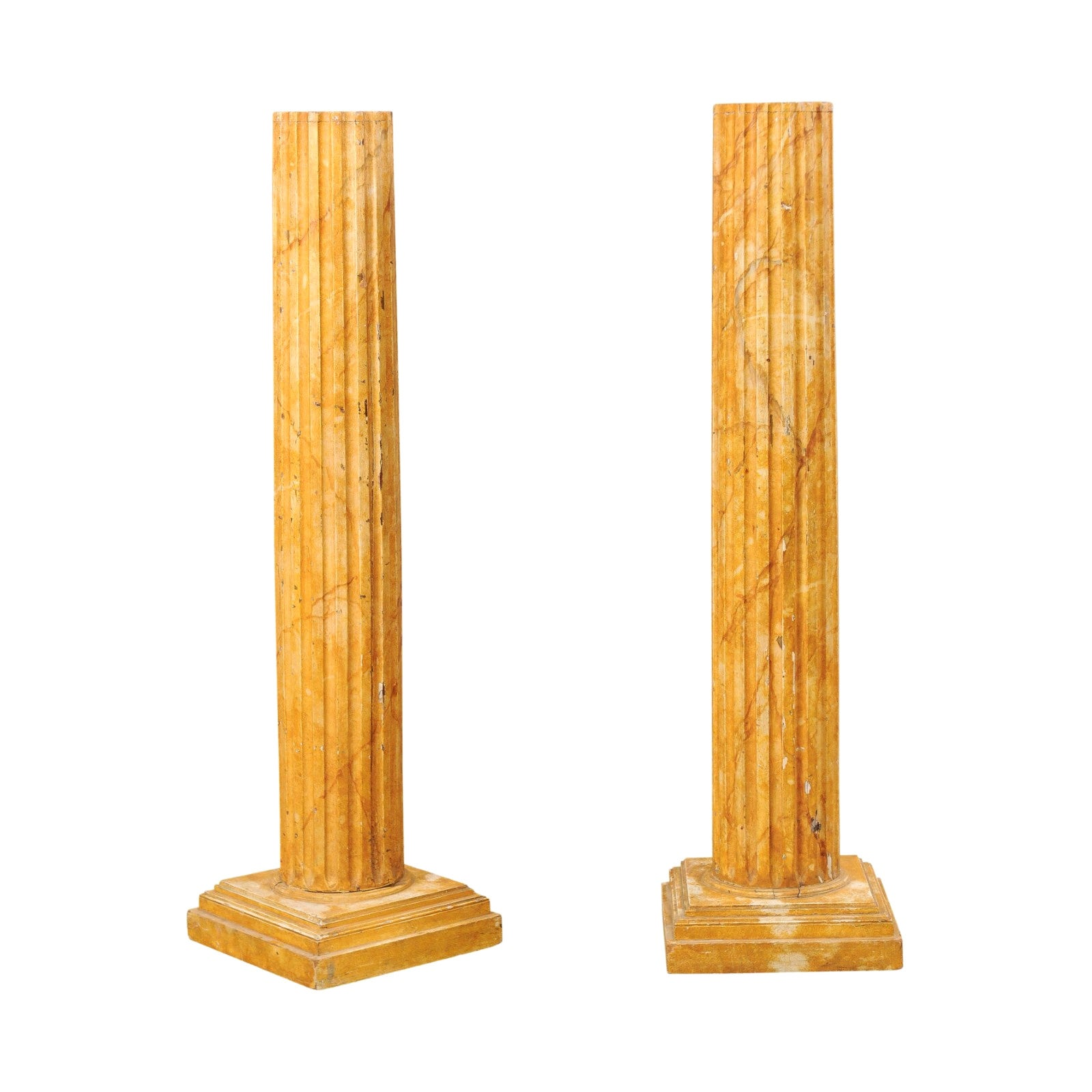 French Pair of Fluted Columns with Faux Marble Finish, Mid-20th Century