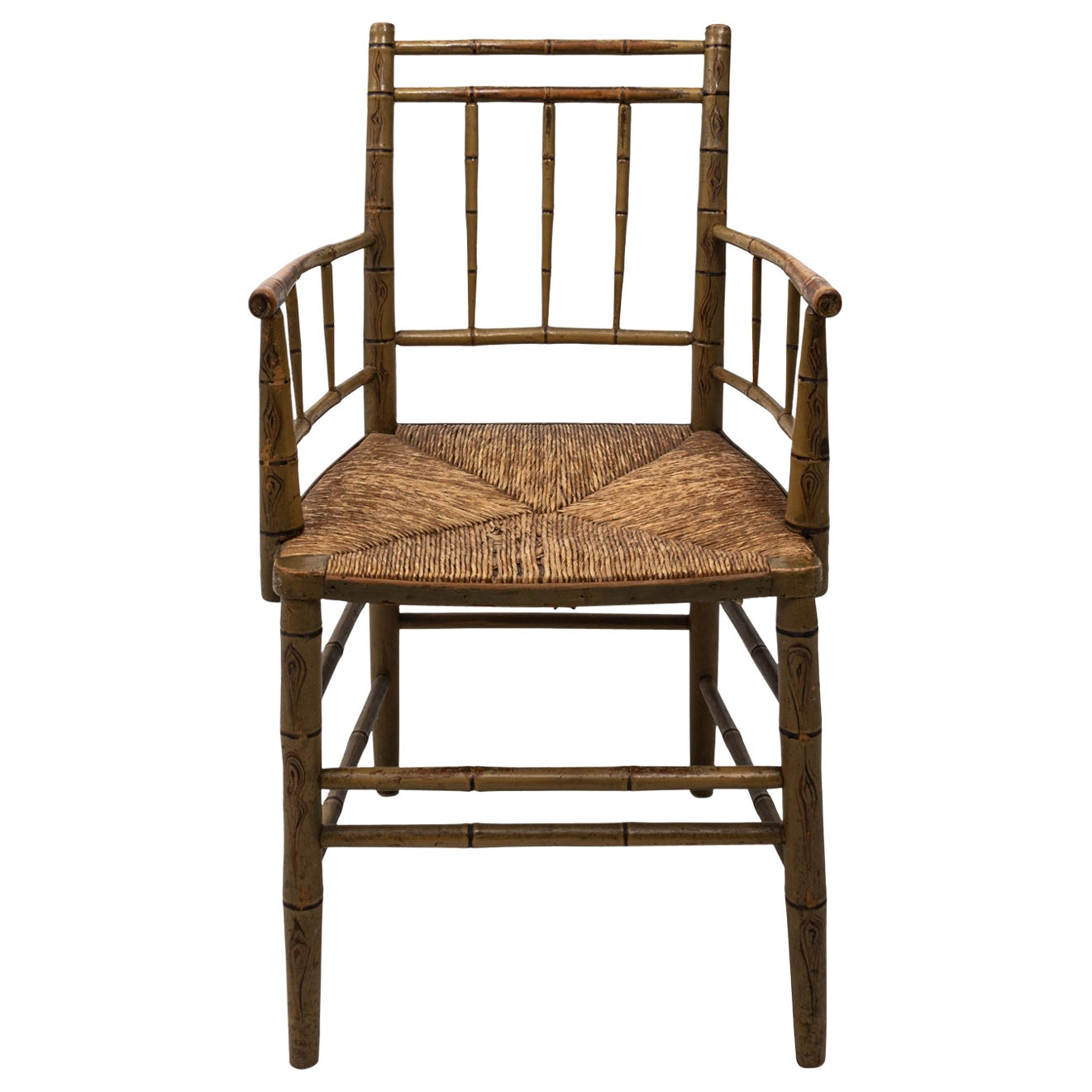 Faux Bamboo Armchair with Rush Seat
