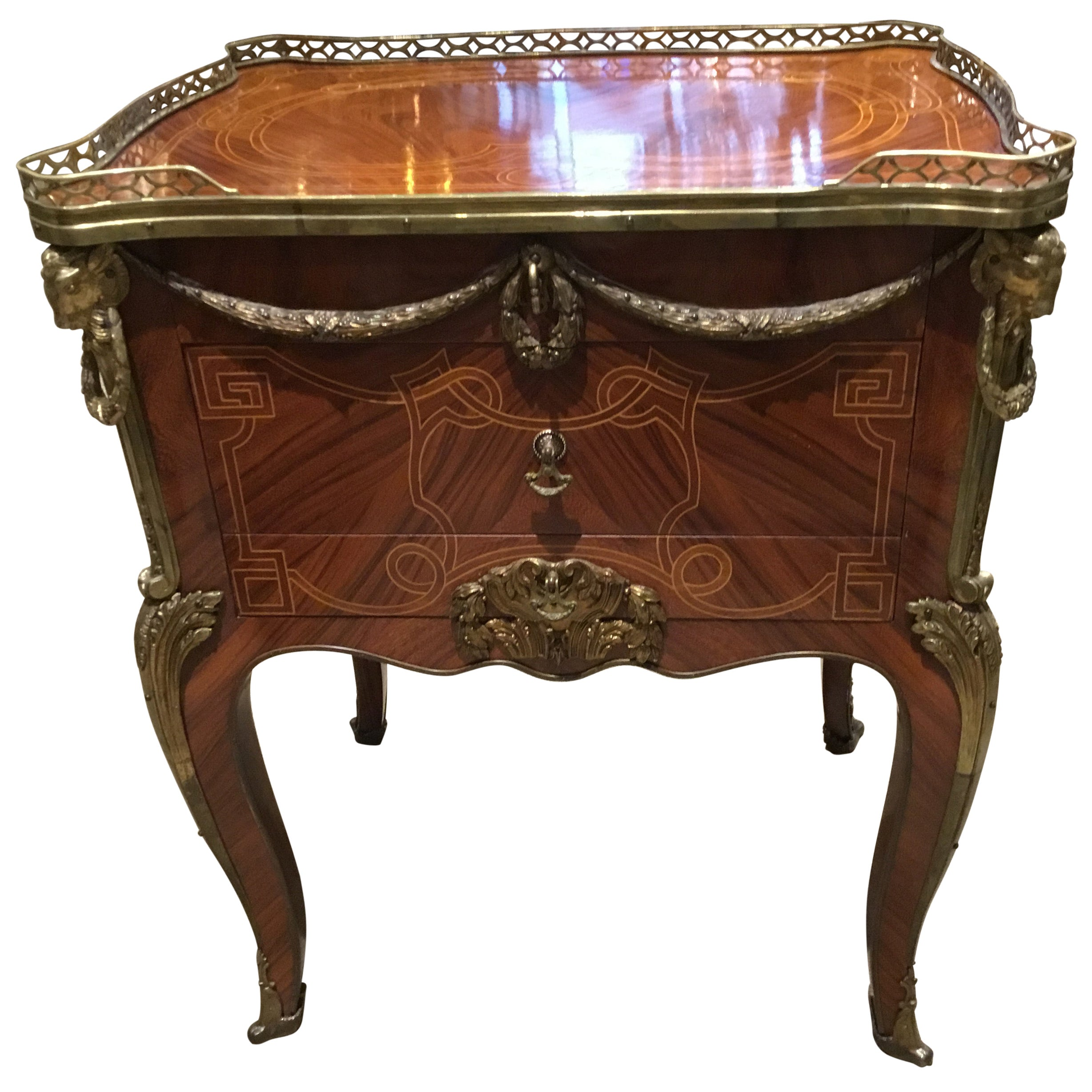 Louis XV Style Commode/ Secretary with Leather Writing Surface, 3 Drawers