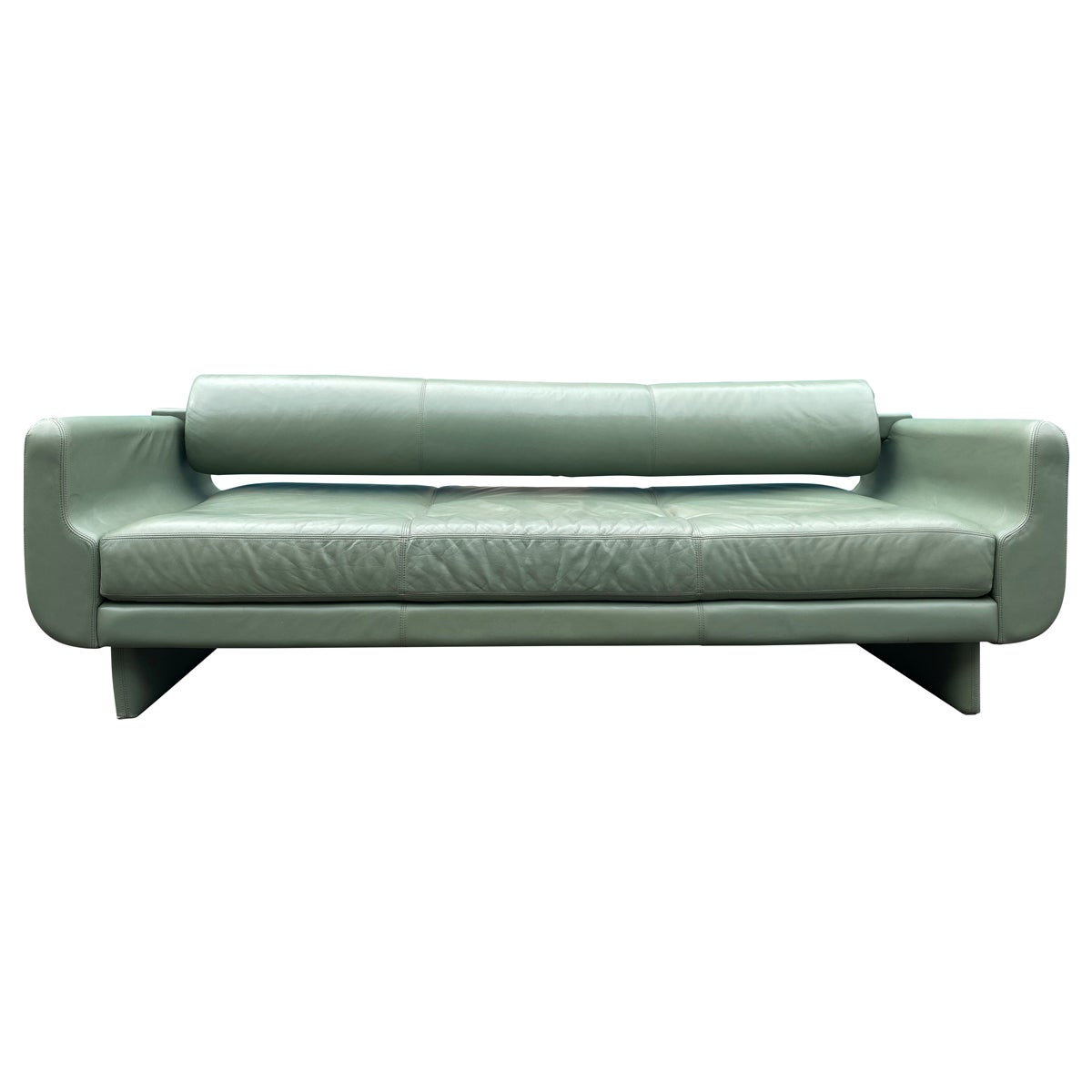Beautiful Leather Matinee Daybed Sofa by Vladimir Kagan Sage Green Leather