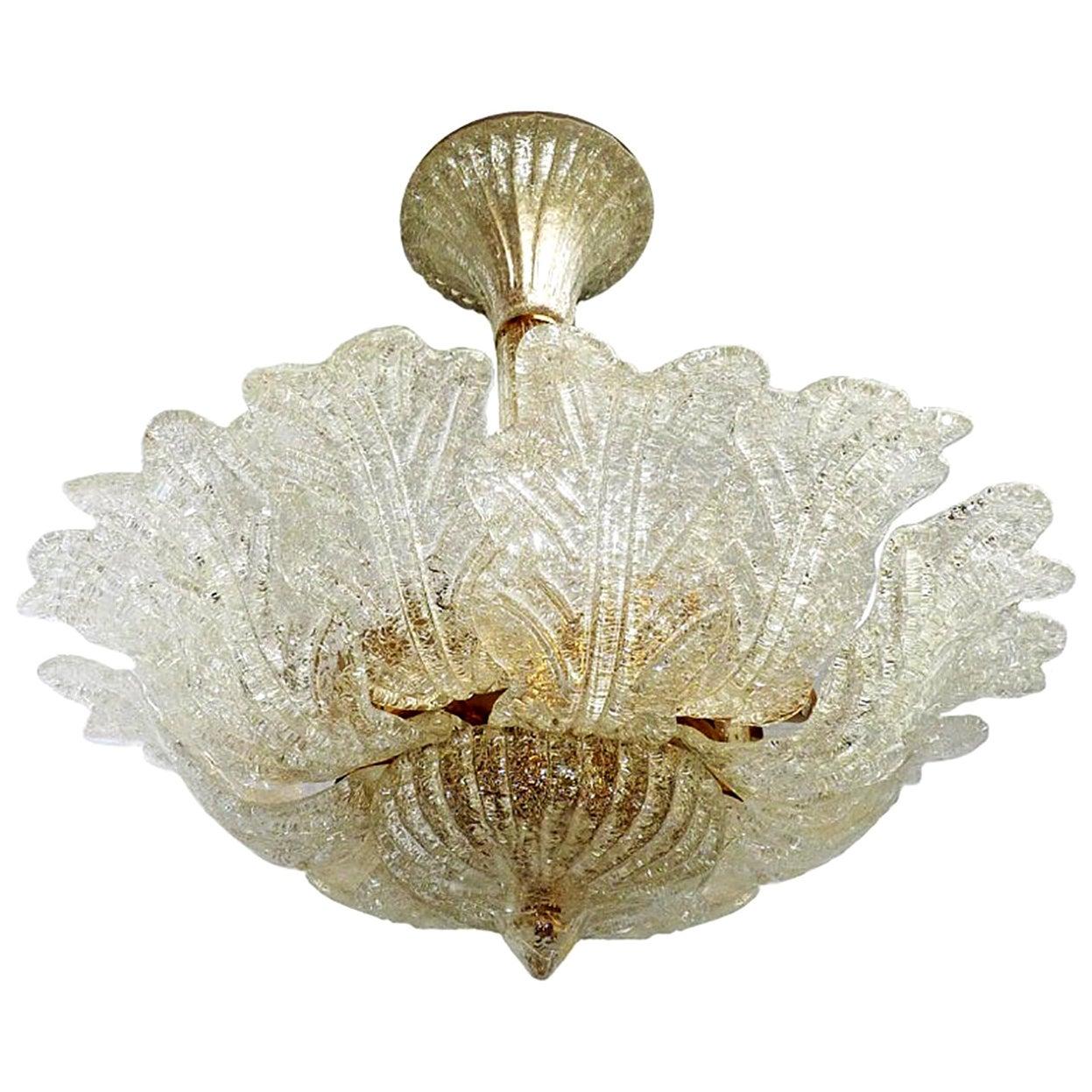 Barovier & Toso Italian Murano Art Glass Flower Leaves and Gilt Brass Chandelier