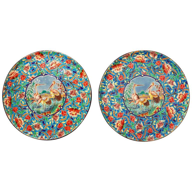 Pair of Antique French Longwy Faience Chargers