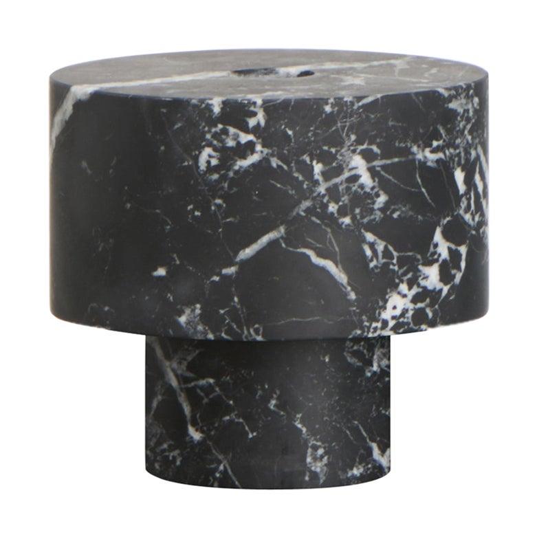 Candleholder in Black Marble, by Karen Chekerdjian, Made in Italy