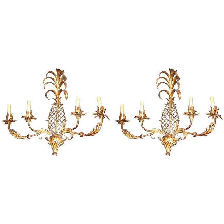 Pair of Large Pineapple Shaped Gilt Metal Sconces