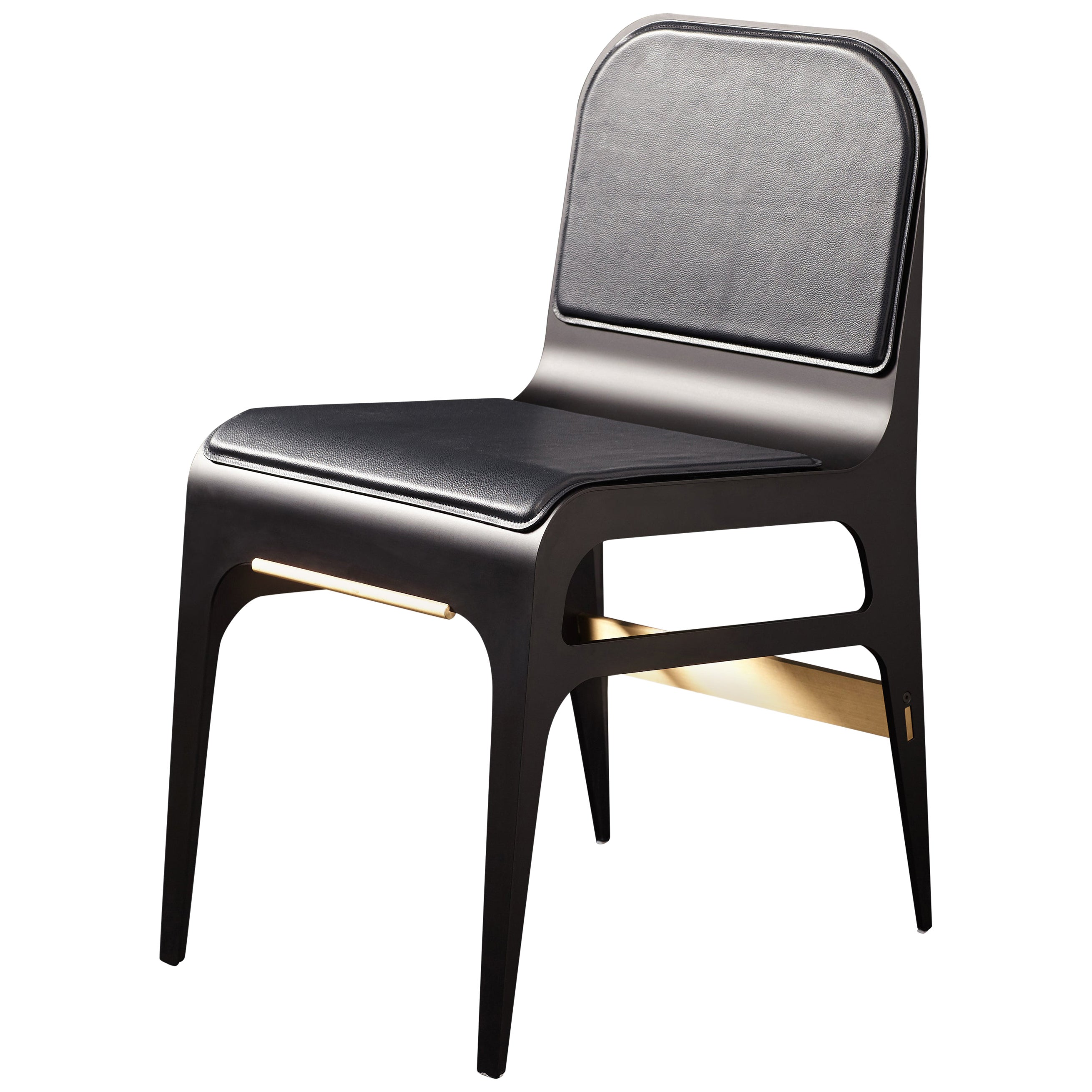 Bardot Dining Chair with Leather Seat and Satin Brass Hardware by Gabriel Scott