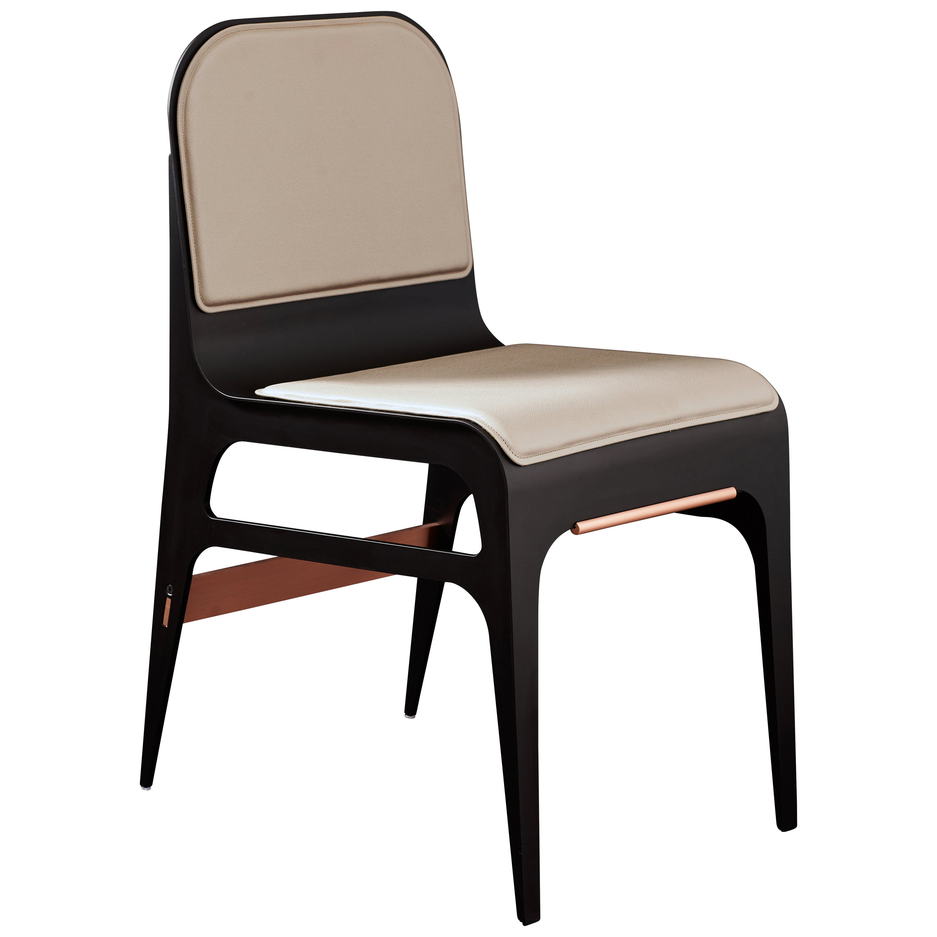 Bardot Dining Chair with Leather Seat and Satin Copper Hardware by Gabriel Scott