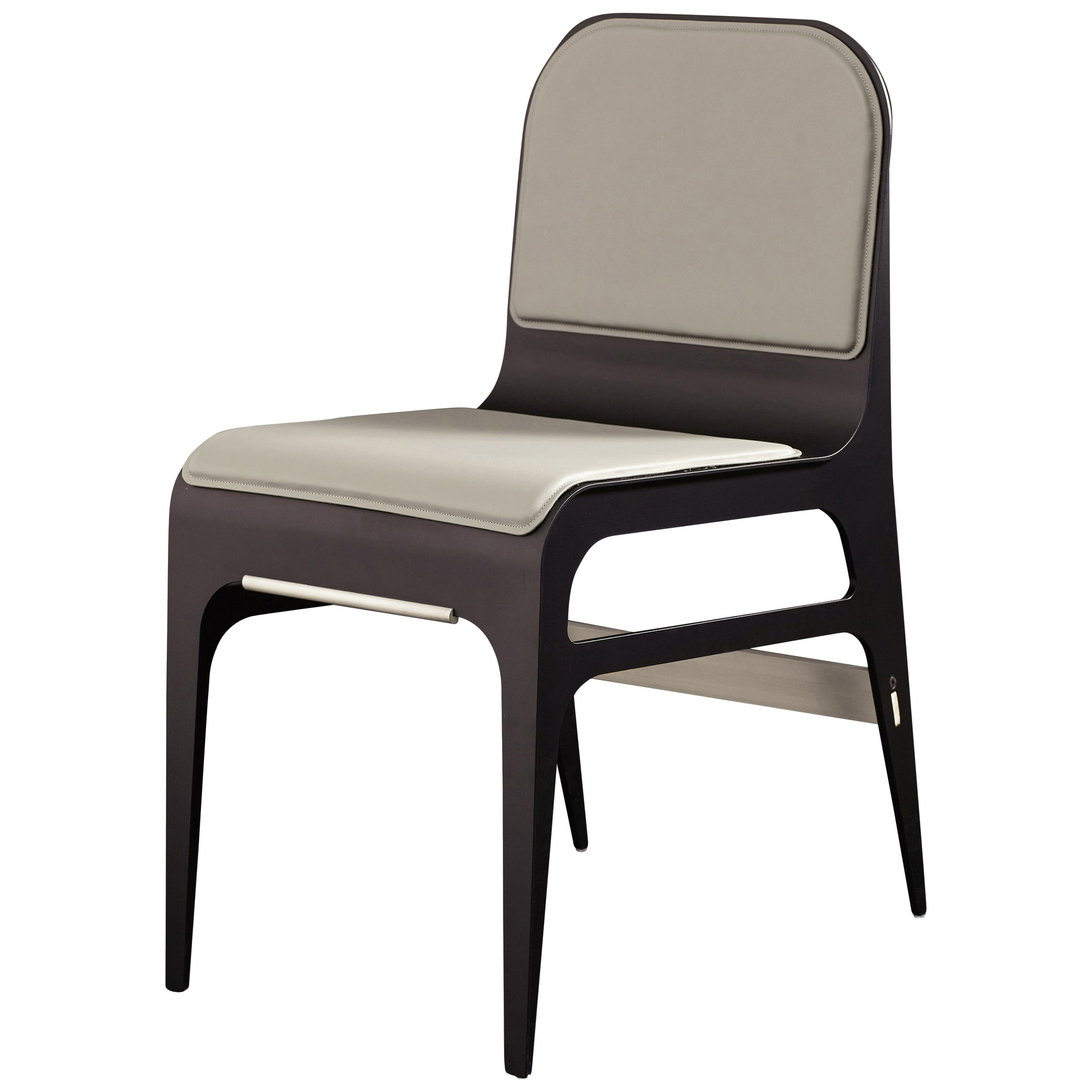 Bardot Dining Chair with Leather Seat and Satin Nickel Hardware by Gabriel Scott