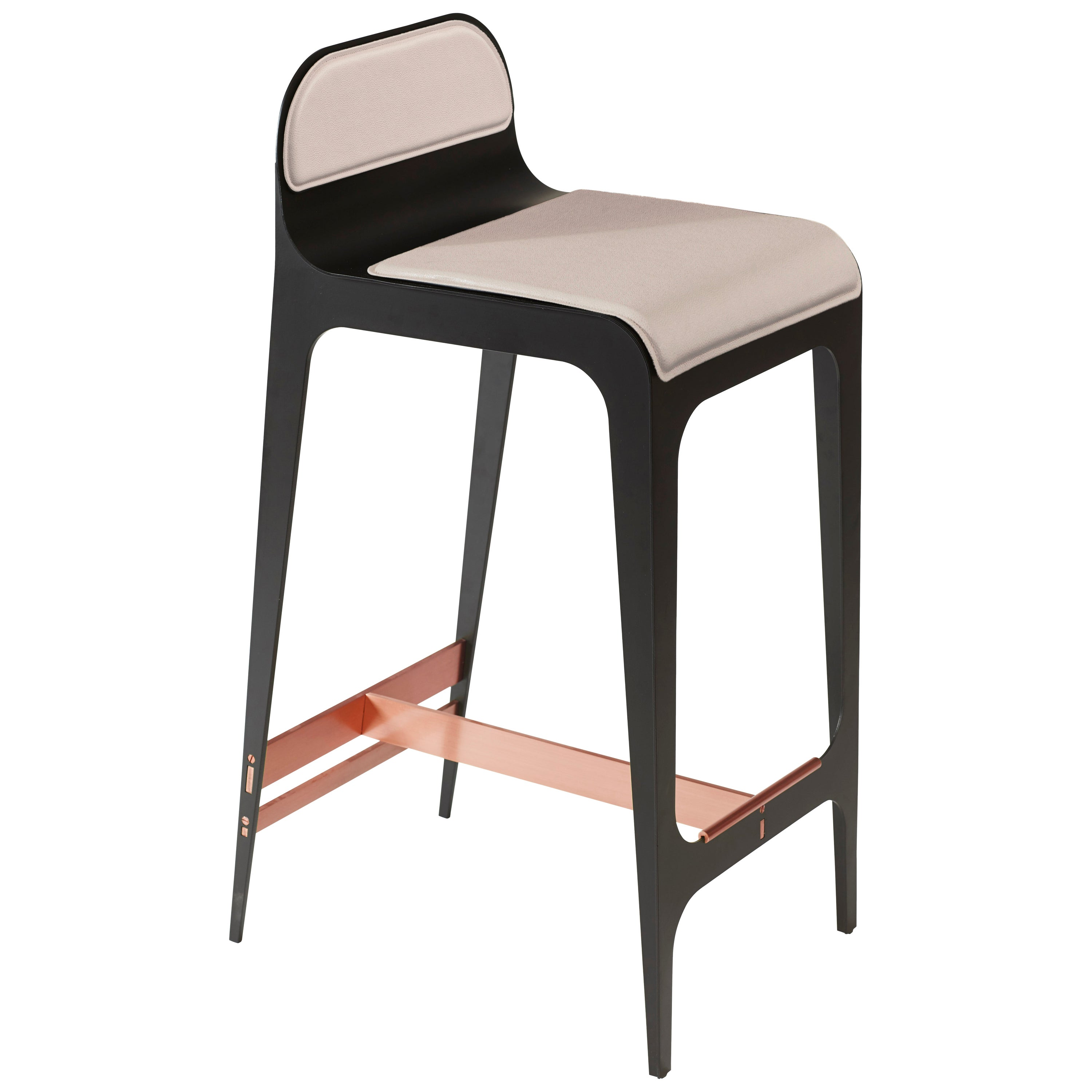 Bardot Barstool with Leather Seat and Satin Copper Hardware by Gabriel Scott