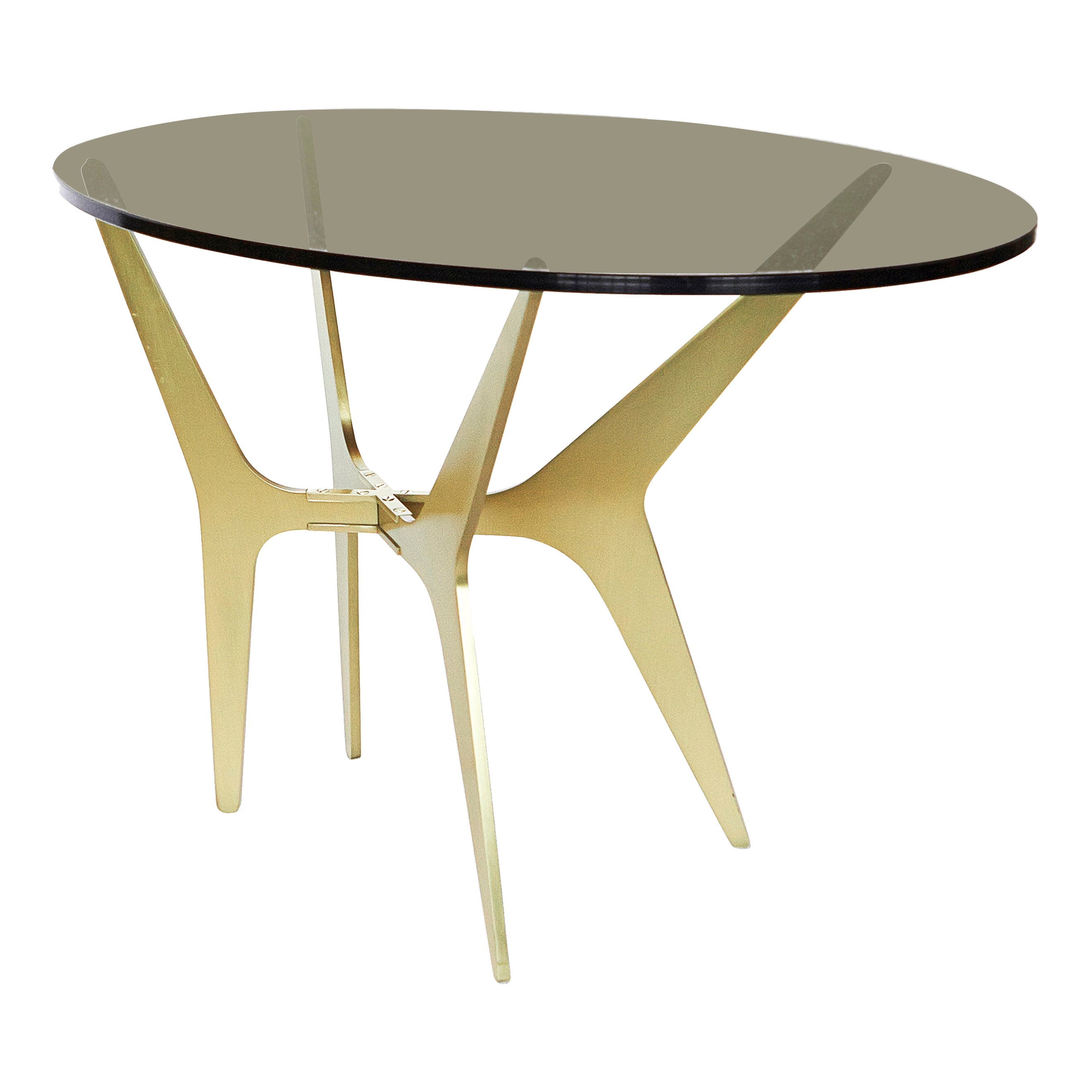 Dean Oval Side Table in Satin Brass Base with Glass Top by Gabriel Scott
