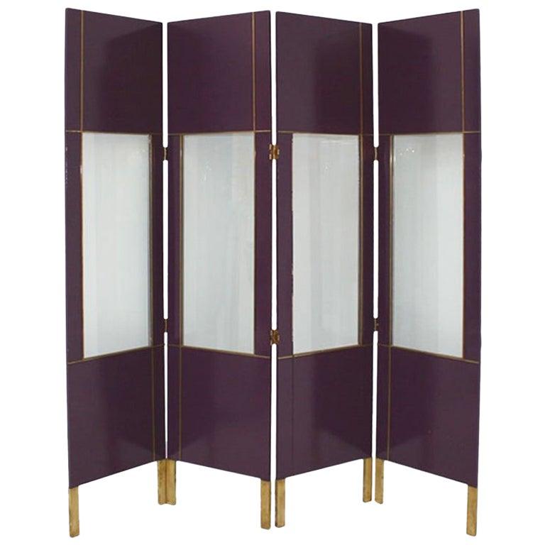 Mid-Century Modern Purple Wood Gold Brass Italian Screen Divider
