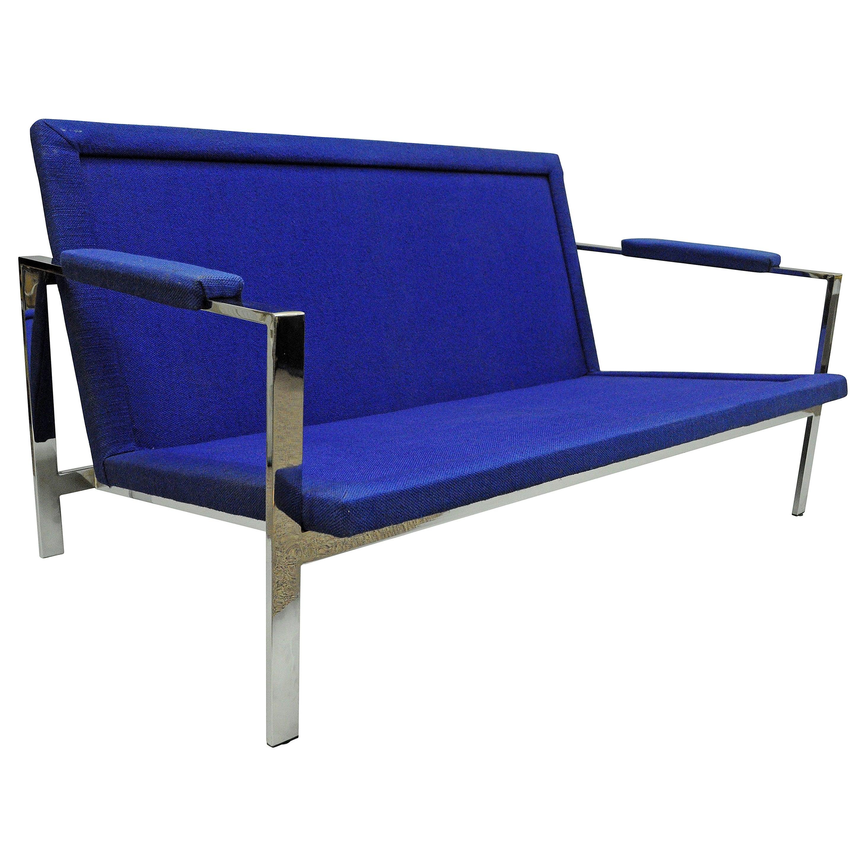 Mid-Century Modern Milo Baughman Style Chrome Flat Bar Settee Loveseat Sofa