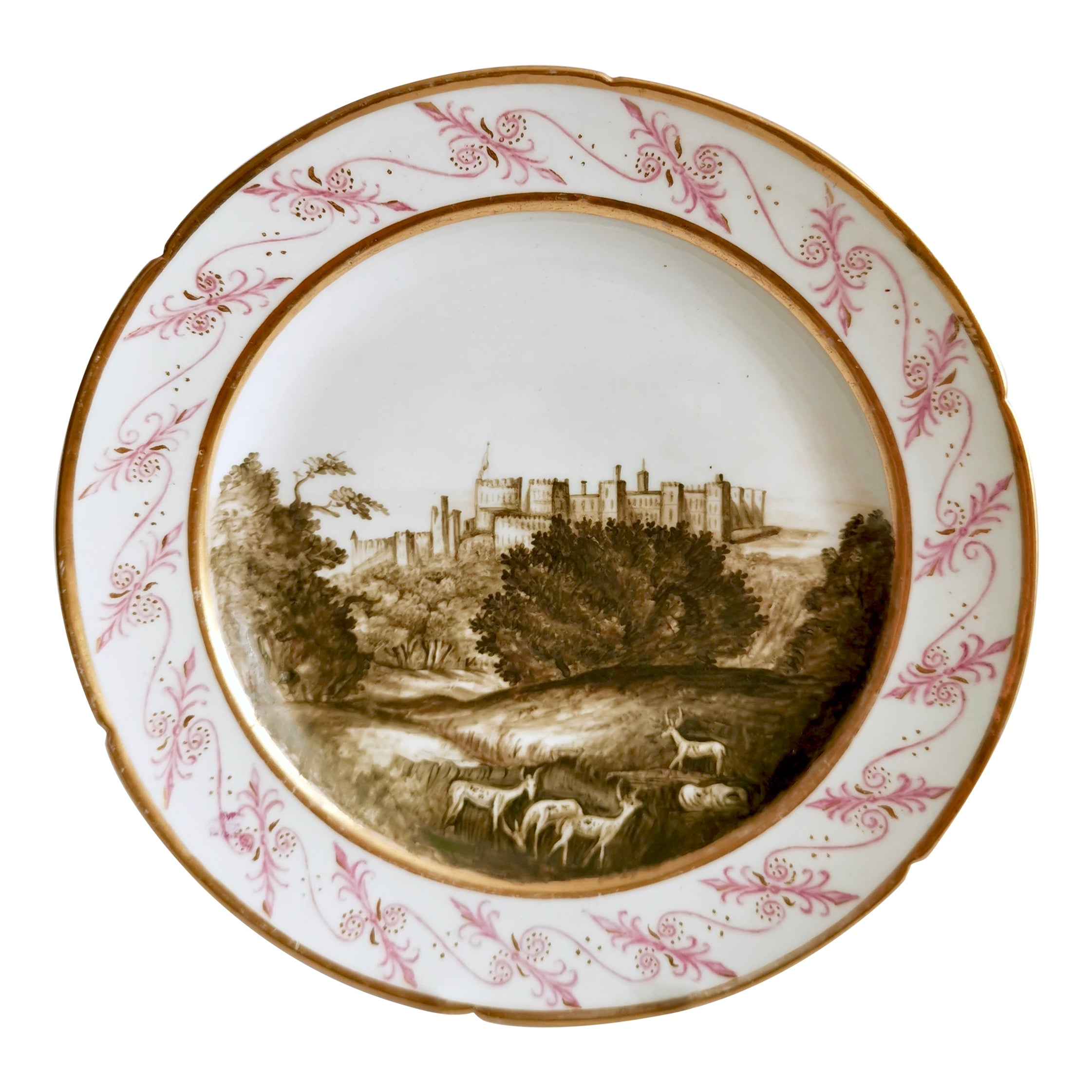 Coalport Porcelain Plate, Landscape in Sepia, by Thomas Baxter, Georgian ca 1805