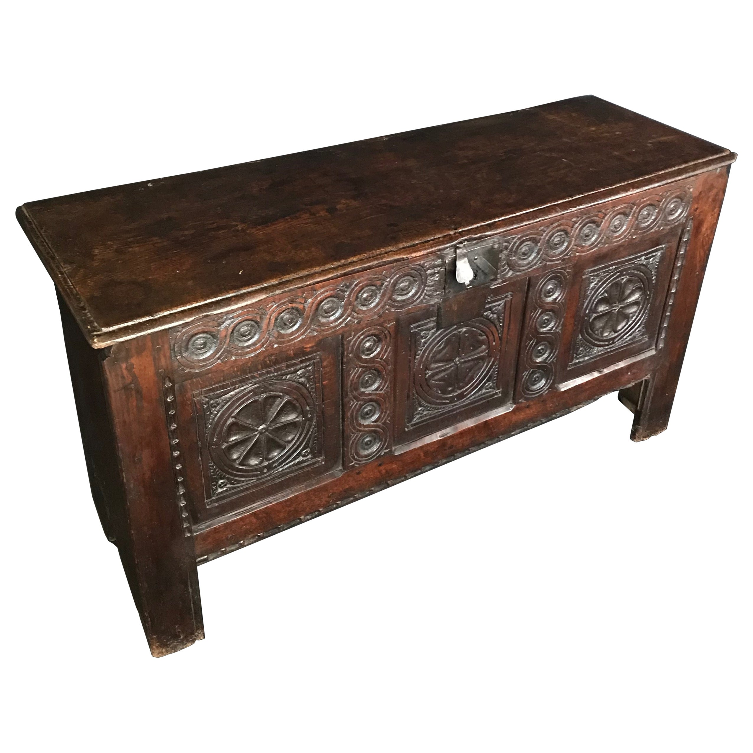 Super Early Antique 18th Century French Carved Coffer Chest