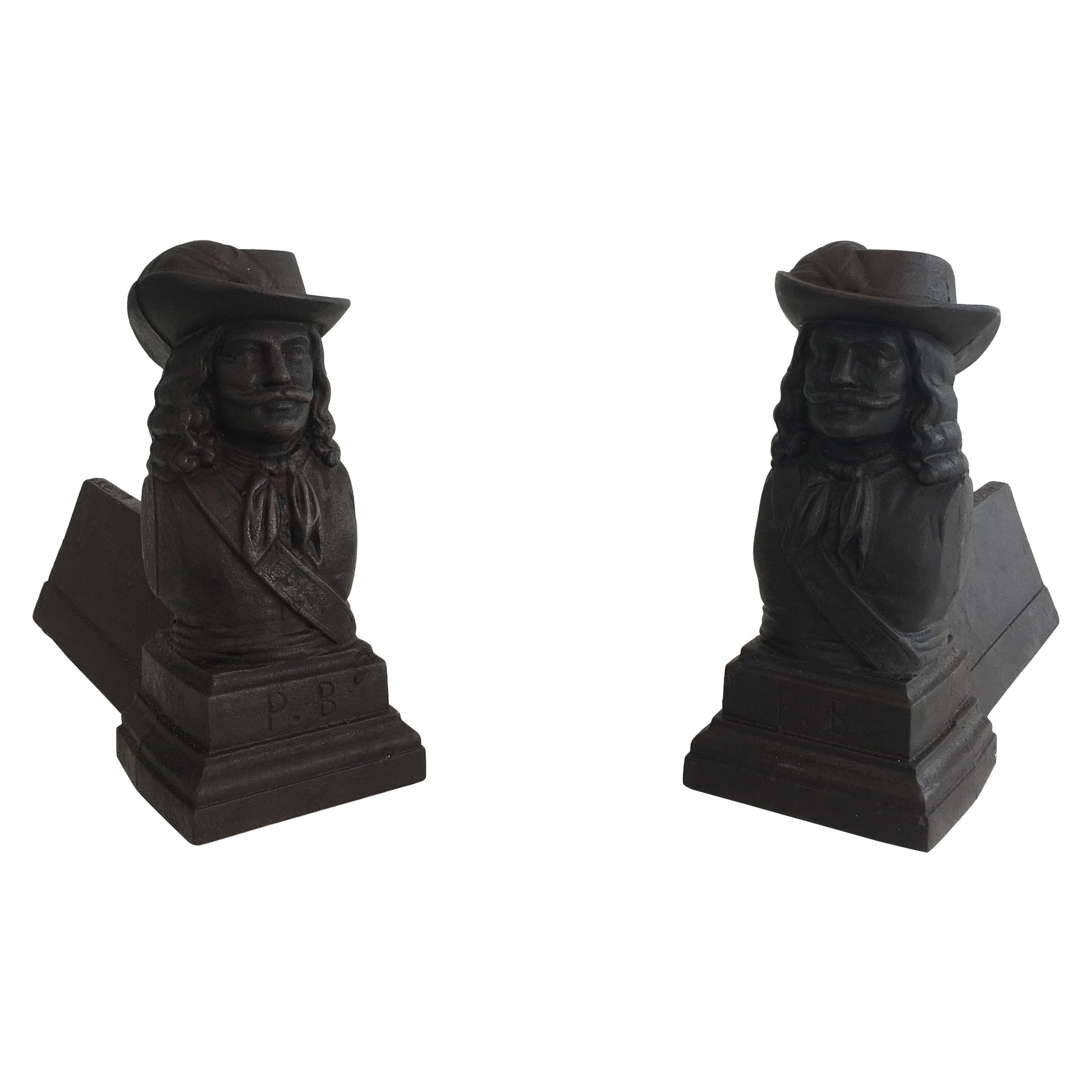 Pair of cast Iron Musketeers Andirons, French, circa 1950