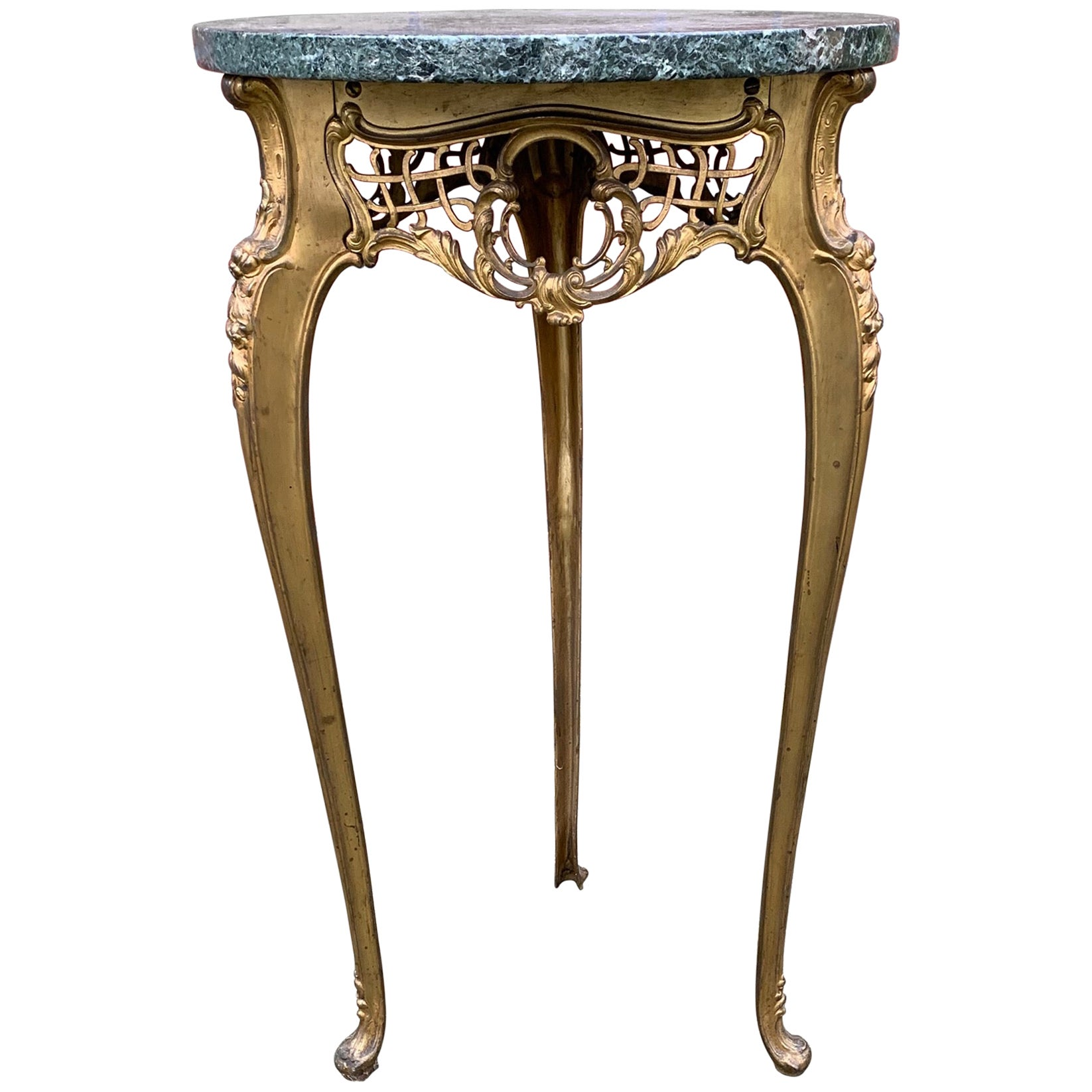 Rare and Handcrafted French Antique Bronze and Marble Top Flower Table, Stand