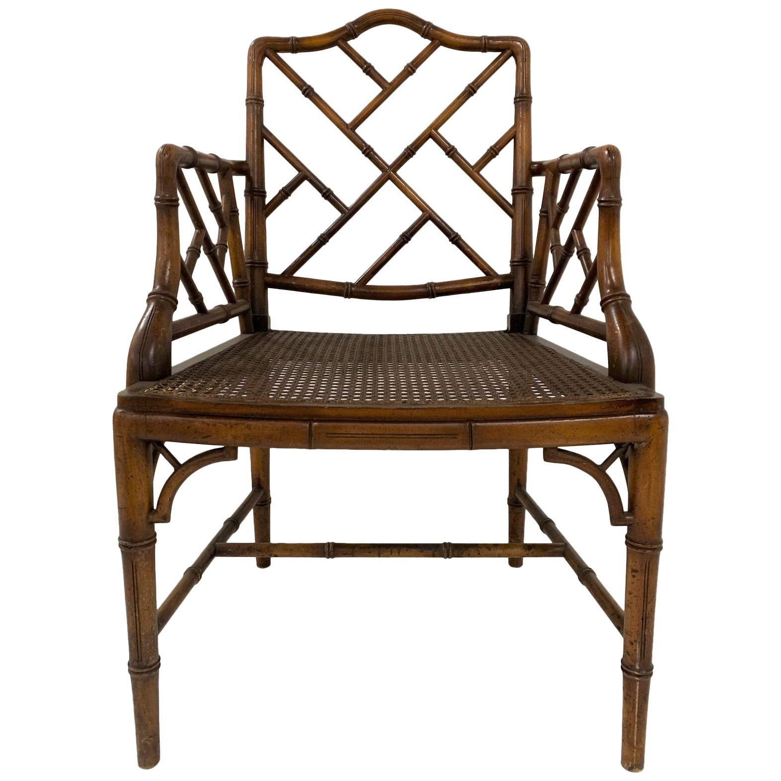 Chinese Chippendale Style Faux Bamboo Armchair