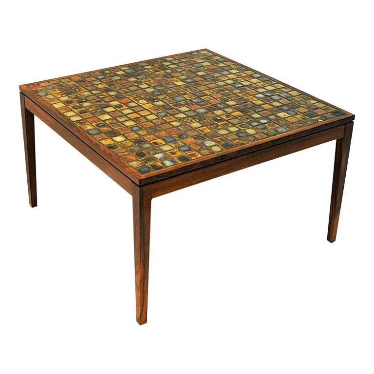 Coffe or Livingroom Rosewood Table with Small Ceramic Tiles, Denmark, 1960s