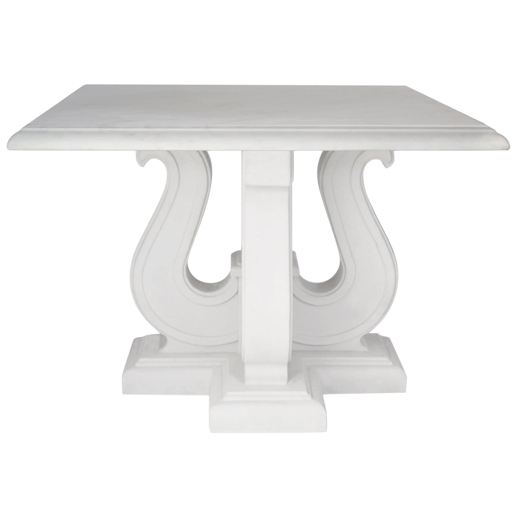 Square Coffee Table White Marble Top handmade  Lyre white Lacquered Wooden Base