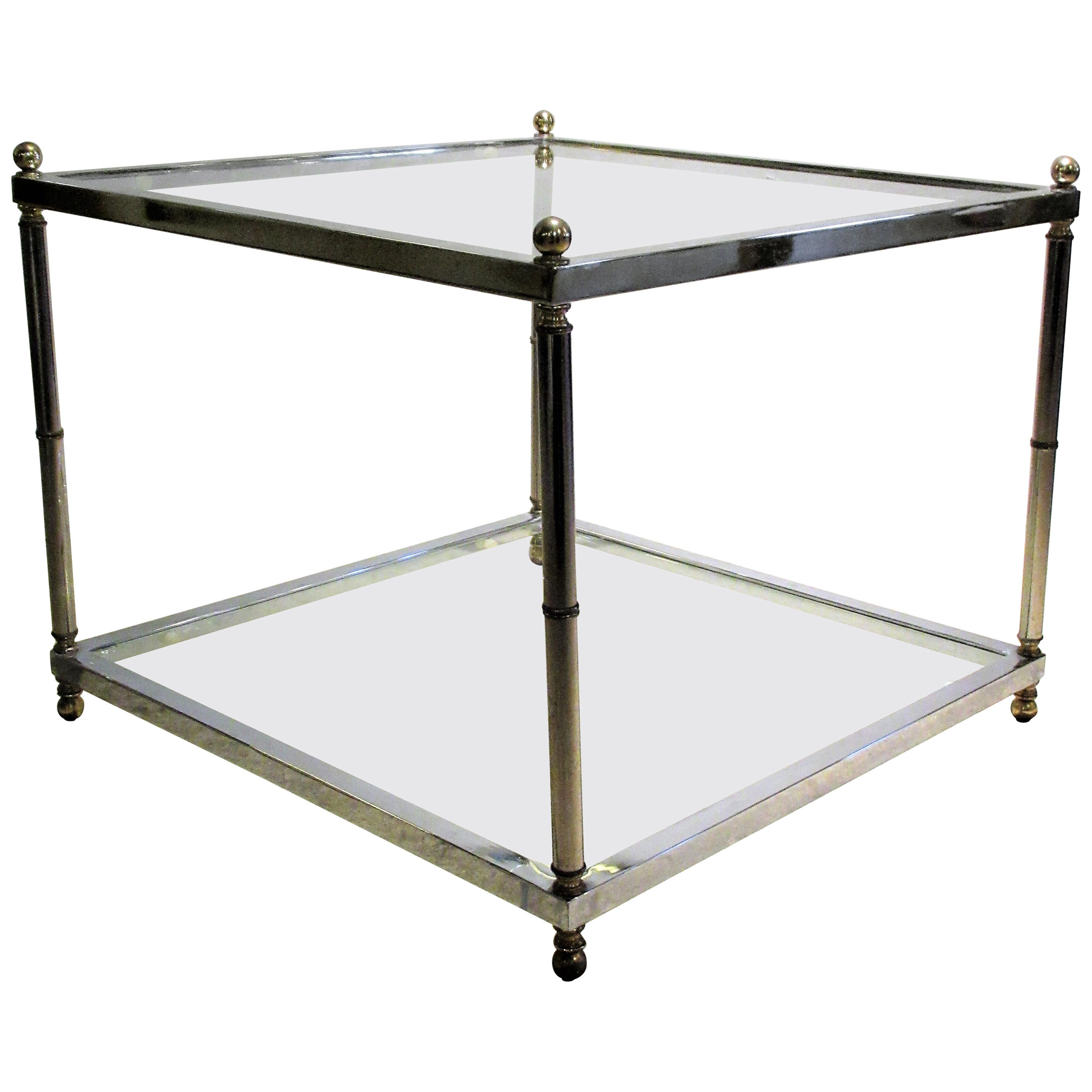 Maison Jansen Style Chromed Steel and Brass Coffee Table