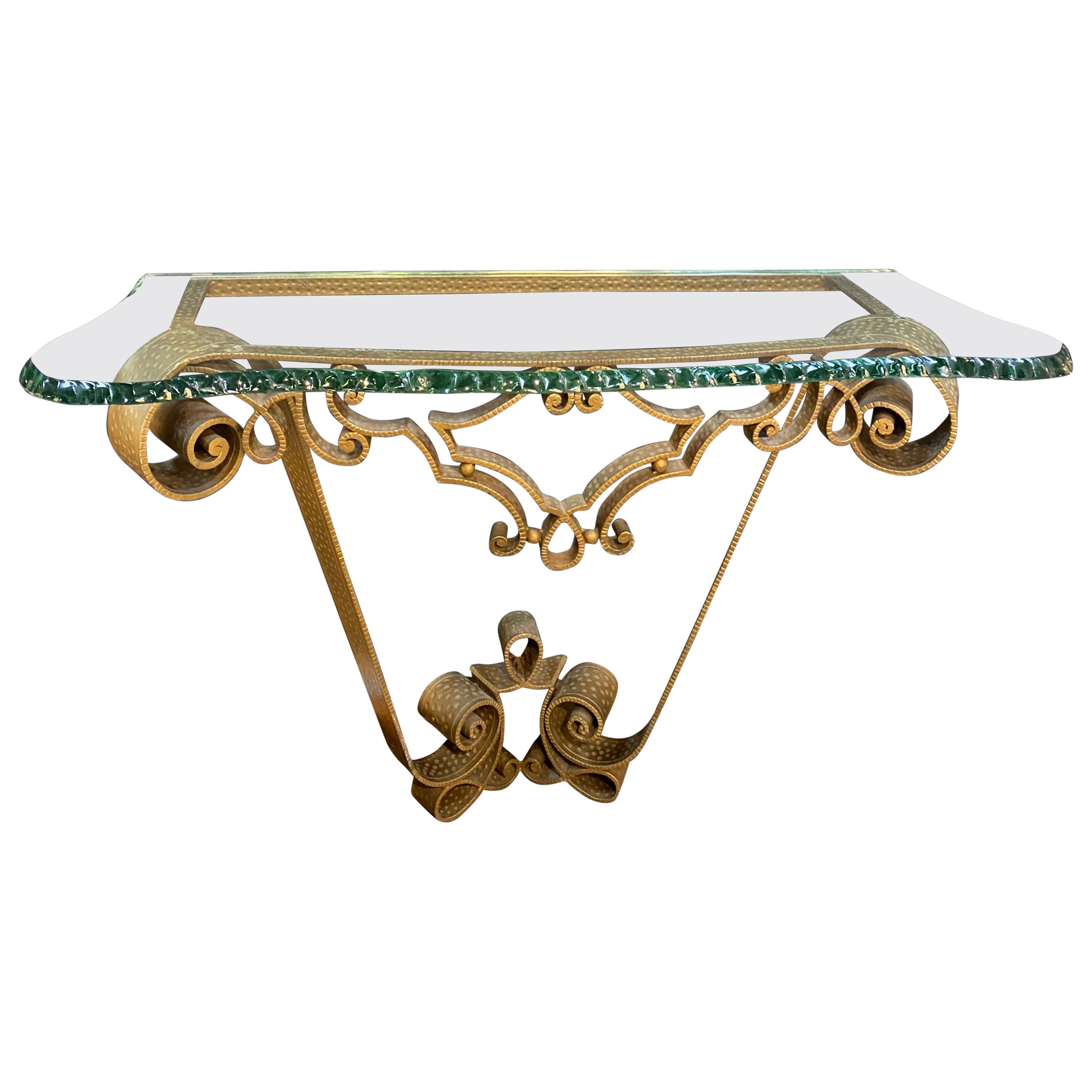Console Wrought Iron Gold Leaf by Pier Luigi Colli, Italy, 1950s