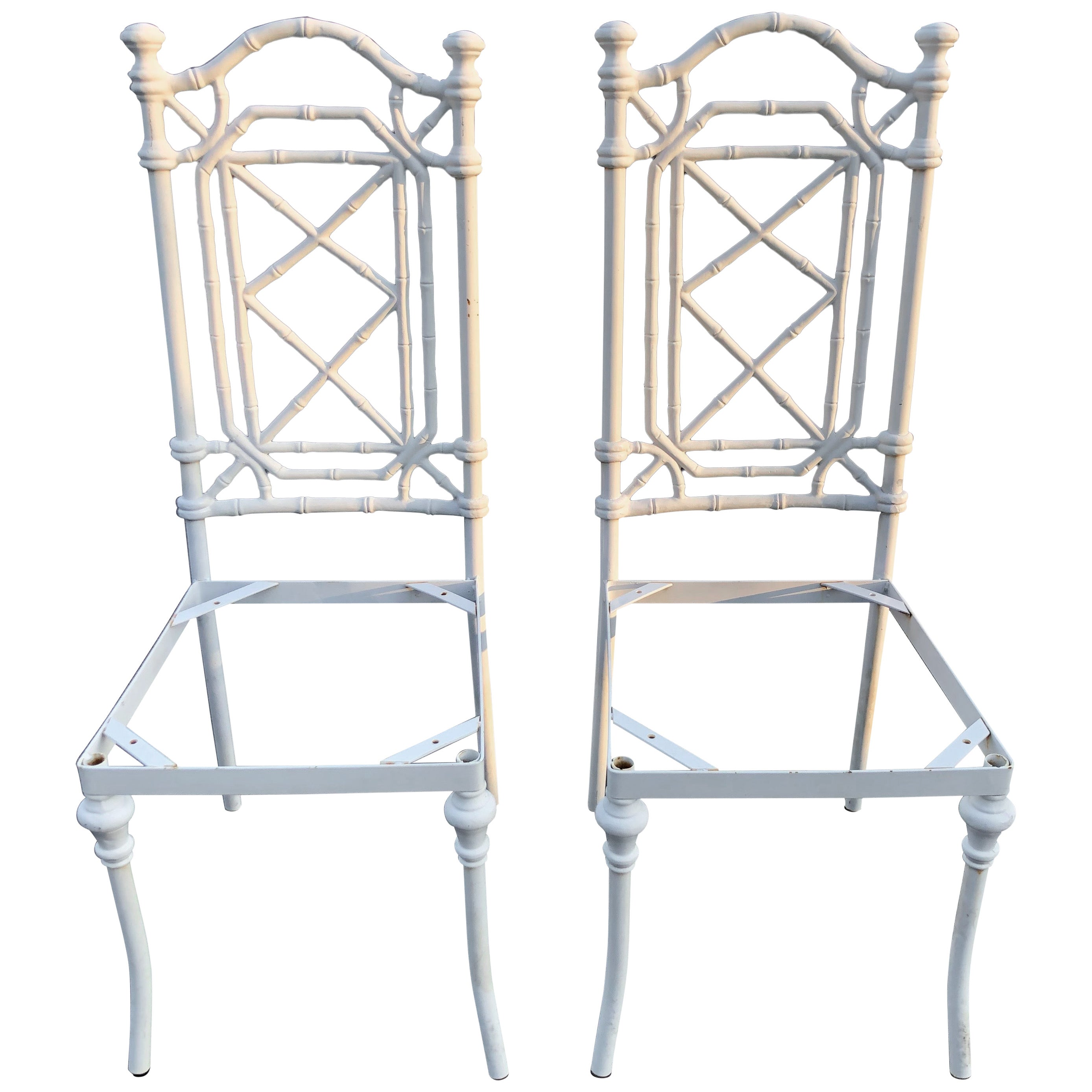 Pair of Hollywood Regency White Faux Bamboo Chairs