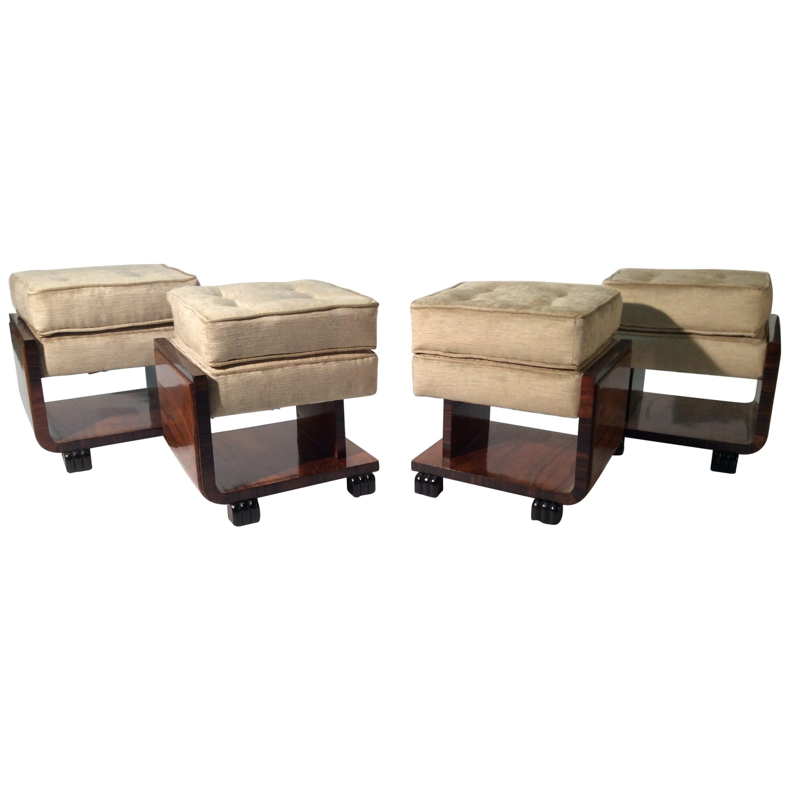 Art Deco Italian Four Stools Newly Upholstered Velvet Fabric