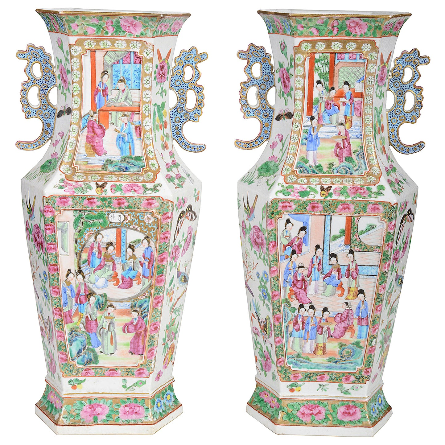 Pair of Good Quality 19th Century Chinese Rose Medallion Vases