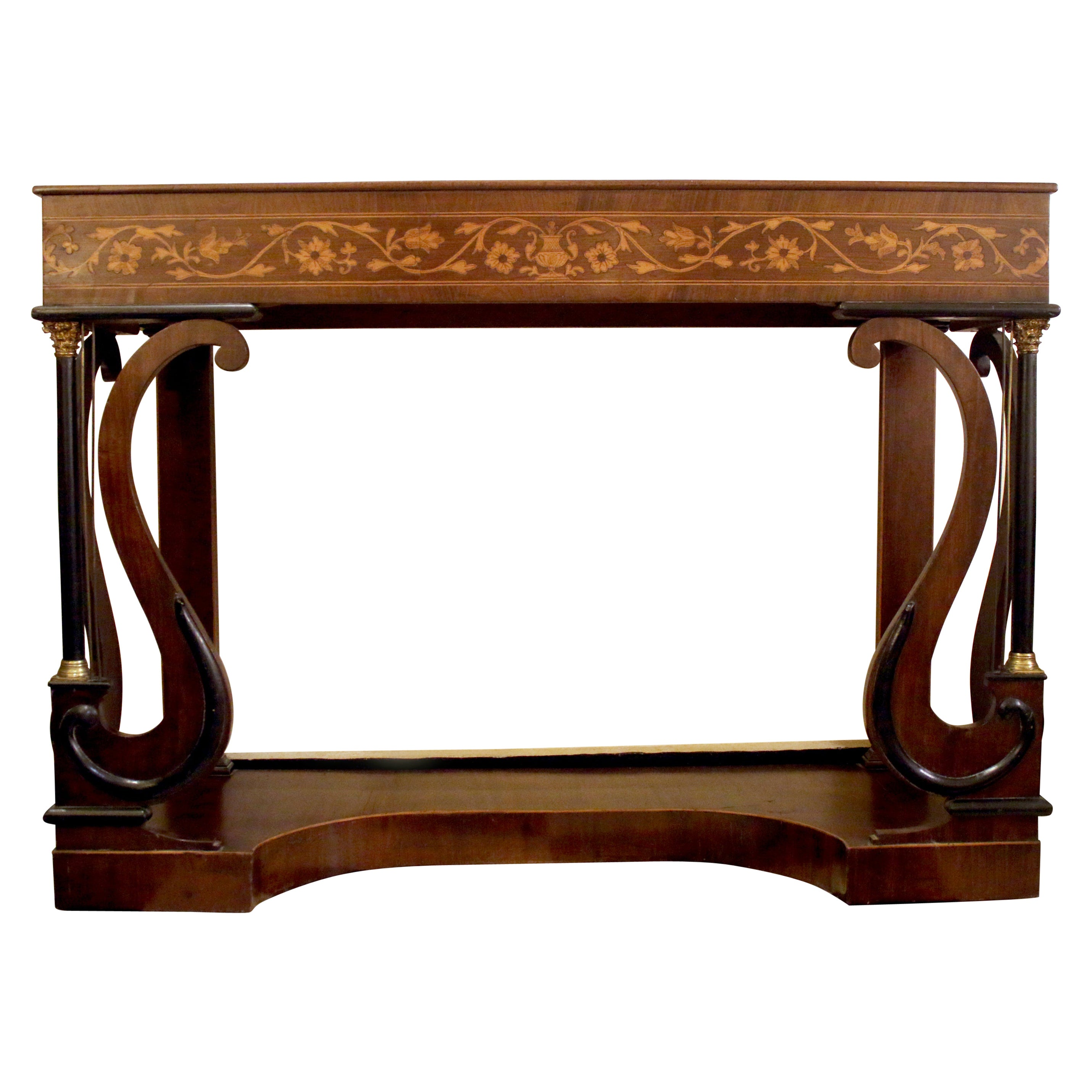 Regency Period Mahogany Console Table with Inlaid Satinwood