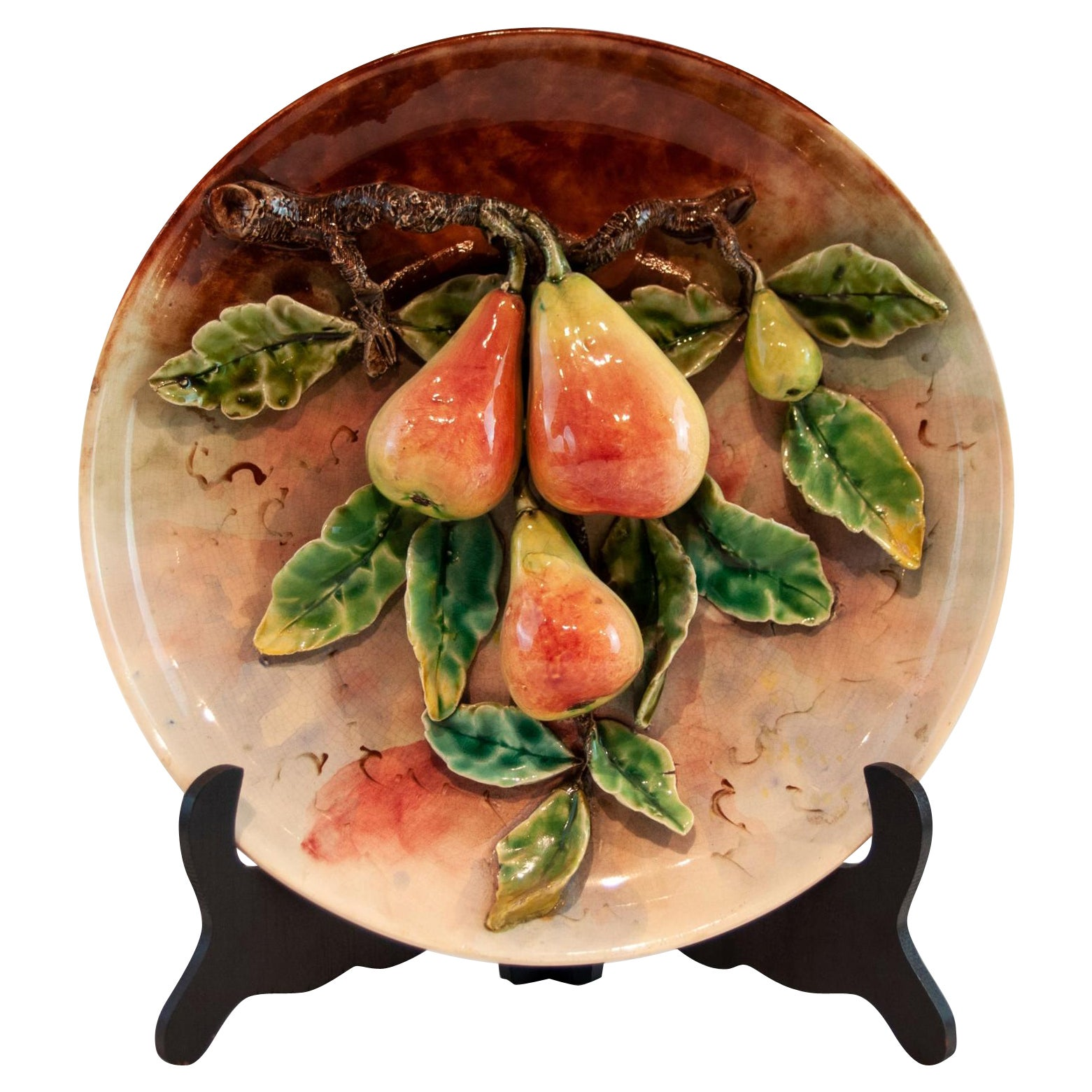 Longchamps French Majolica Barbotine Menton Wall Plaque with Pears, circa 1880