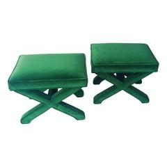 Pair of Mid-Century Modern Baldwin/ Baughman Style X Benches in Green Velvet